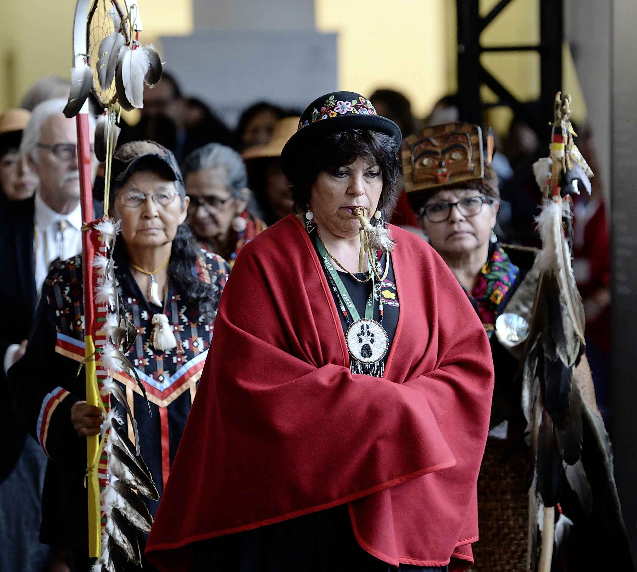 The opening procession of the release of the report for the National Inquiry into Missing and Murdered Indigenous Women and Girls in Gatineau, Que., on Monday. (Adrian Wyld / The Canadian Press files)