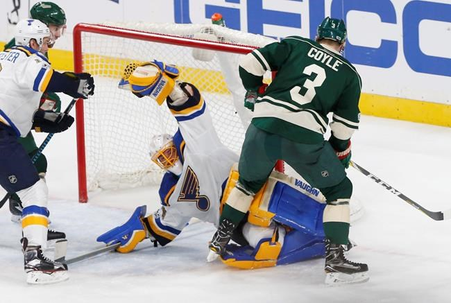 Blues top Wild 3-1, grab 3-0 series lead