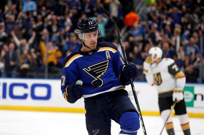 St. Louis Blues' Jaden Schwartz celebrates after scoring during the second period of an NHL hockey game against the Vegas Golden Knights, Thursday, Dec. 12, 2019, in St. Louis. (AP Photo/Jeff Roberson)