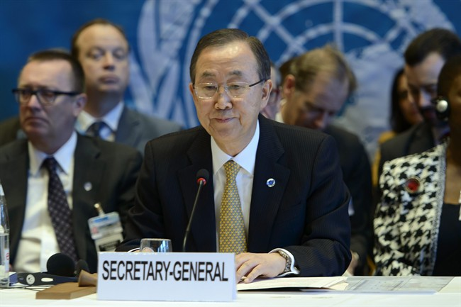 "UN Secretary General Ban Ki-Moon opens the so-called Geneva II peace talks in Montreux Switzerland, Wednesday, Jan. 22, 2014. Ban Ki-moon said that the peace talks will face ""formidable"" challenges for Syria. (AP Photo/Keystone, Martial Trezzini)"