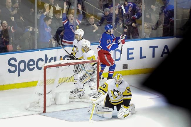 Pittsburgh Penguins goaltender Matt Murray (30) reacts as New York Rangers' Kaapo Kakko (24) celebrates after scoring the game winning goal during overtime period of an NHL hockey game Tuesday, Nov. 12, 2019, in New York. The Rangers won 3-2. (AP Photo/Frank Franklin II)