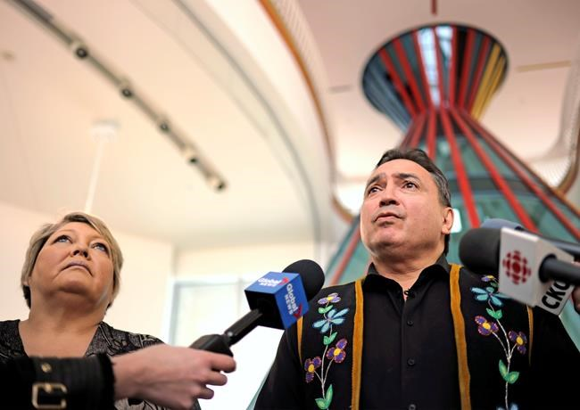 FSIN Vice Chief Heather Bear, left, and Assembly of First Nations National Chief Perry Bellegarde discuss the not guilty verdict in the trial of Gerald Stanley at the First Nations University of Canada in Regina, Feb. 10, 2018. Stanley was charged in the shooting death of 22-year-old Colten Boushie of the Red Pheasant First Nation. THE CANADIAN PRESS/Mark Taylor