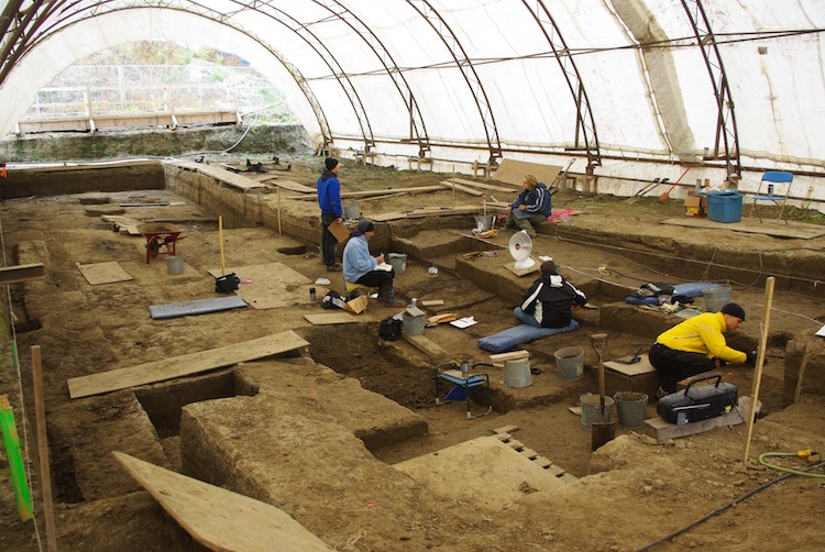 Work goes on at the archeological dig in Winnipeg in this handout photo. The dig took place between November 2008 and 2012.