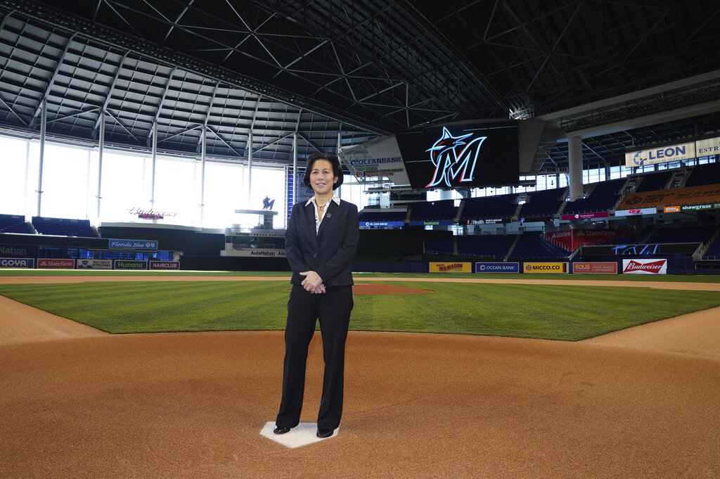 Kim Ng was named manager of the Miami Marlins last month. (Joseph Guzy / Miami Marlins via AP)
