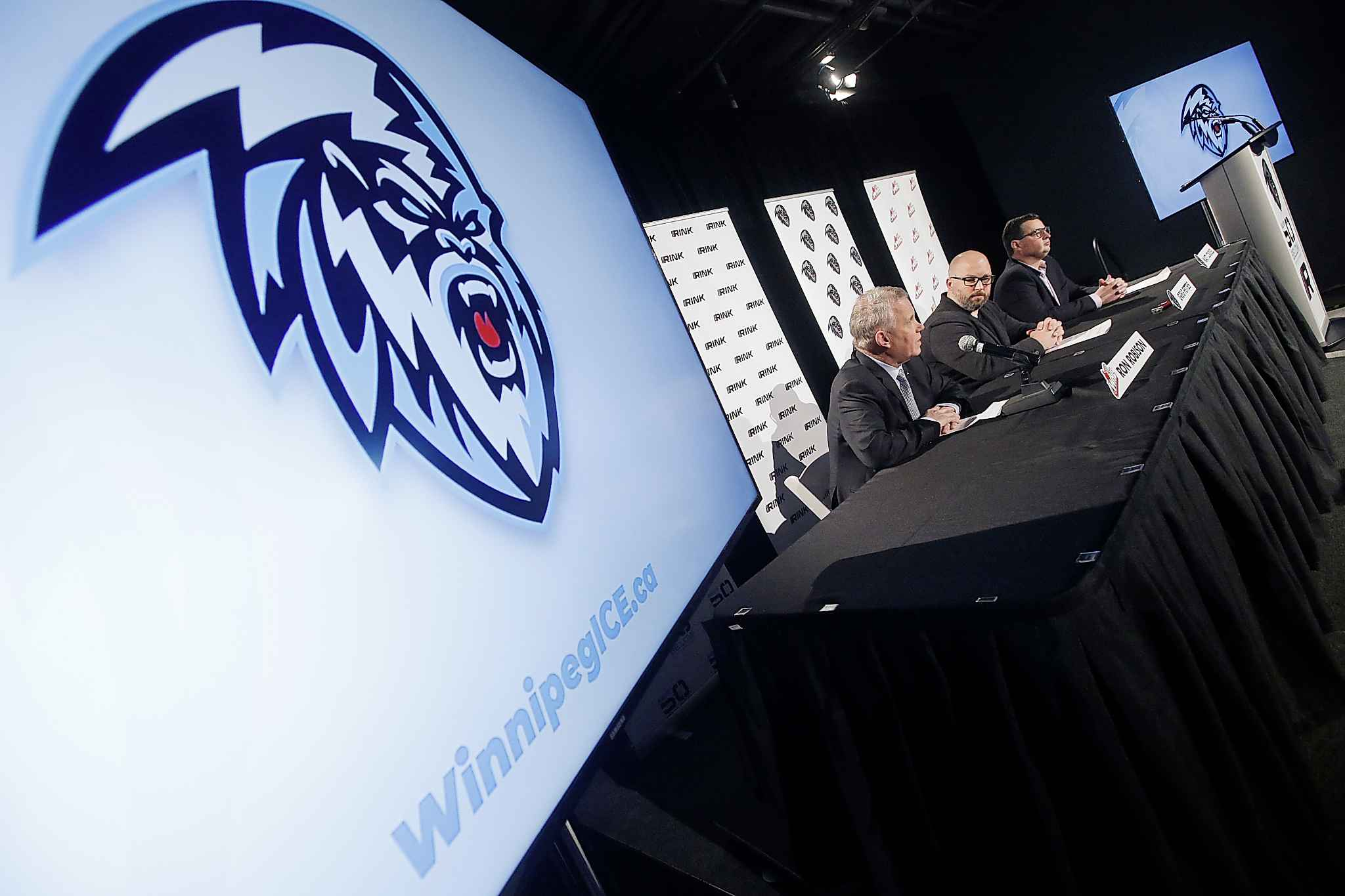 Winnipeg ICE President and General Manager Matt Cockell, far right, gambled on his ability to sell his city and program to Matt Savoie after he announced his commitment to the University of Denver of the NCAA.