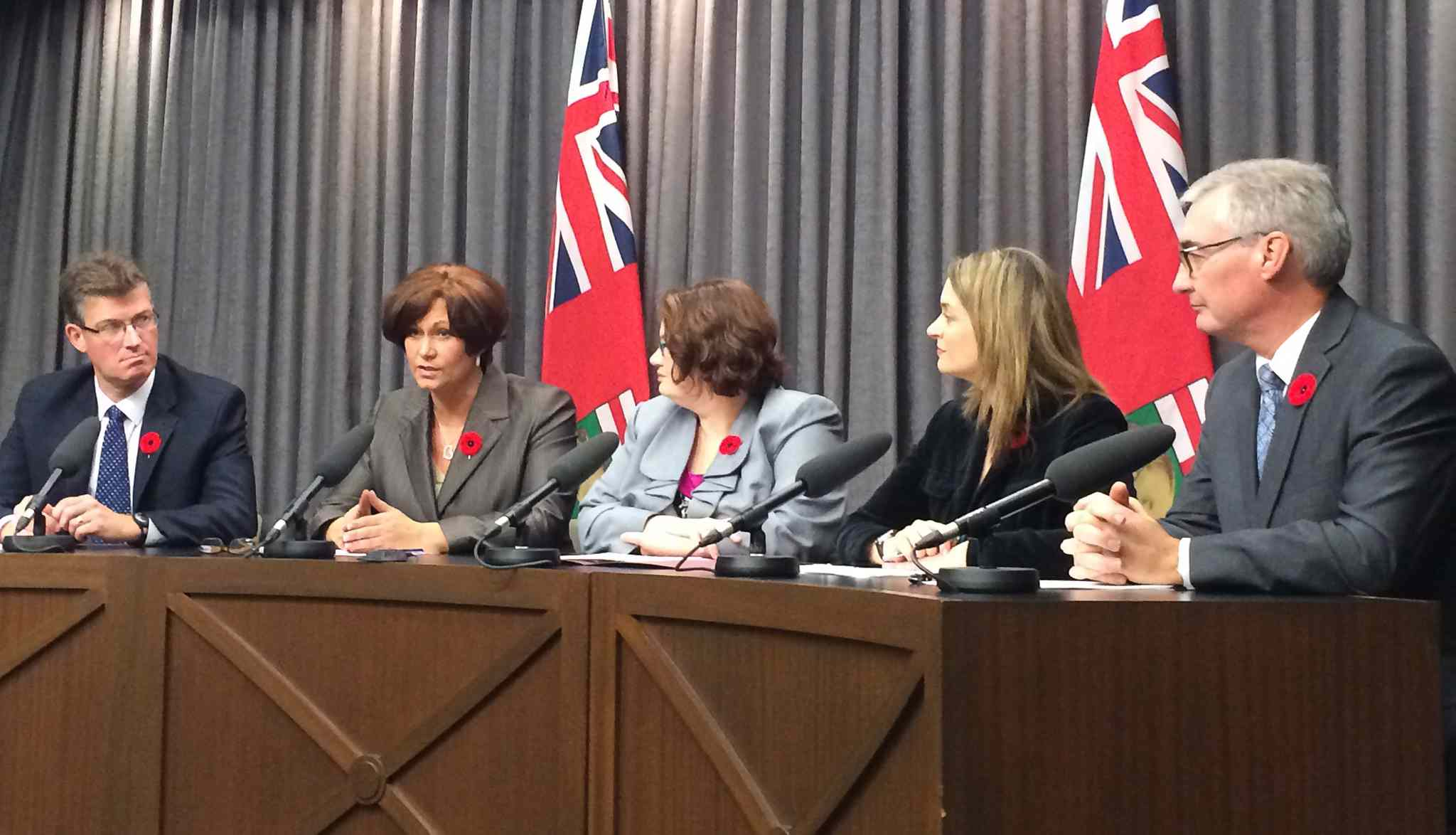 The gang of five — Andrew Swan (from left), Theresa Oswald, Jennifer Howard, Erin Selby and Stan Struthers — urged Selinger to step down in 2015.