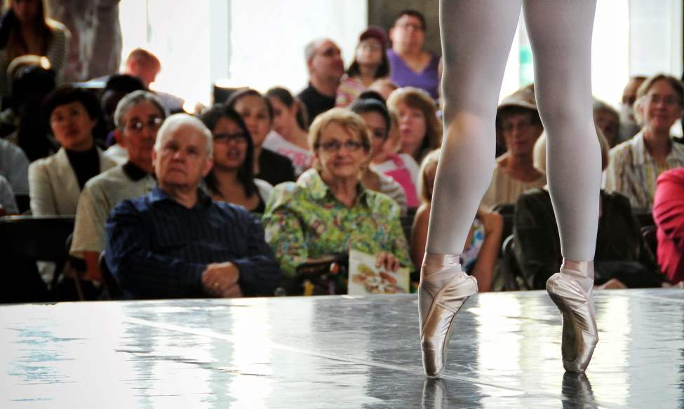 Saeka Shirai, a member of the RWB School Professional Division, performs during a demonstration at the stage in the Manitoba Hydro building's lobby.   Sunday, September 30, 2012.  (MIKE DEAL / WINNIPEG FREE PRESS)