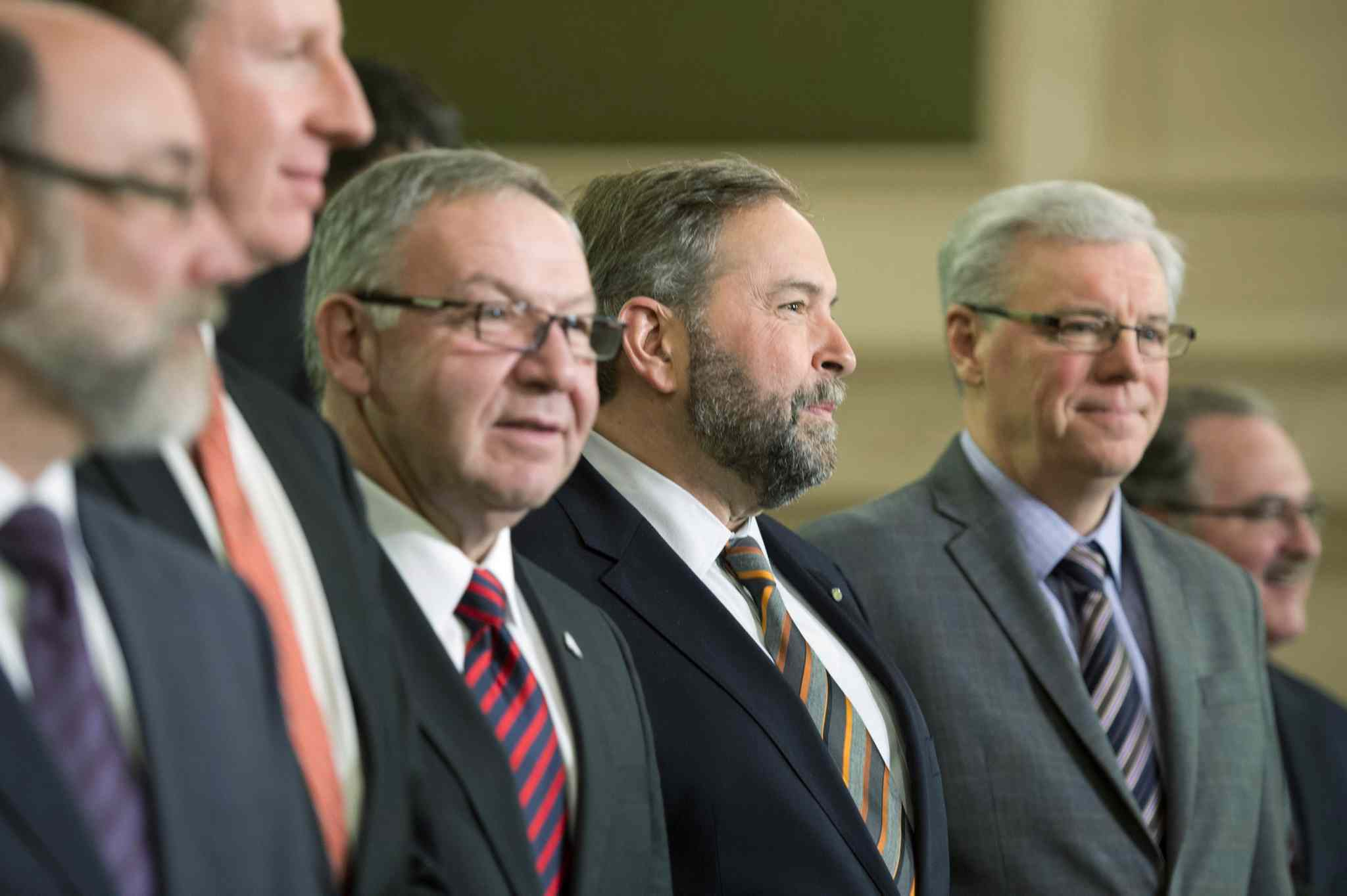 NDP Leader Tom Mulcair with Manitoba Premier Greg Selinger in 2013.  The leaders did not appear together at a recent rally in Winnipeg.