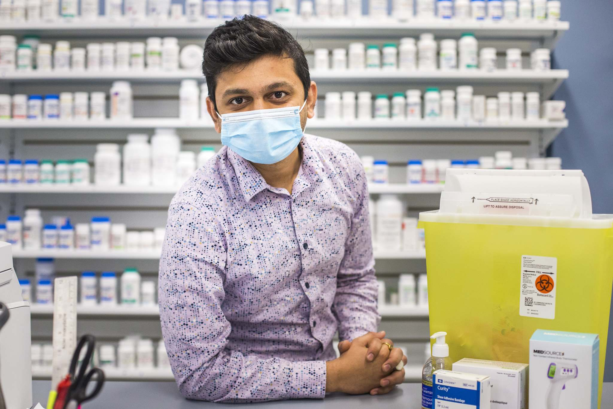 MIKAELA MACKENZIE / WINNIPEG FREE PRESS</p><p>Bhargav Desai, pharmacy manager at Peguis Pharmacy, says his last shipment of AstraZeneca was on April 20 and all of the doses were used and no appointments were cancelled. </p>