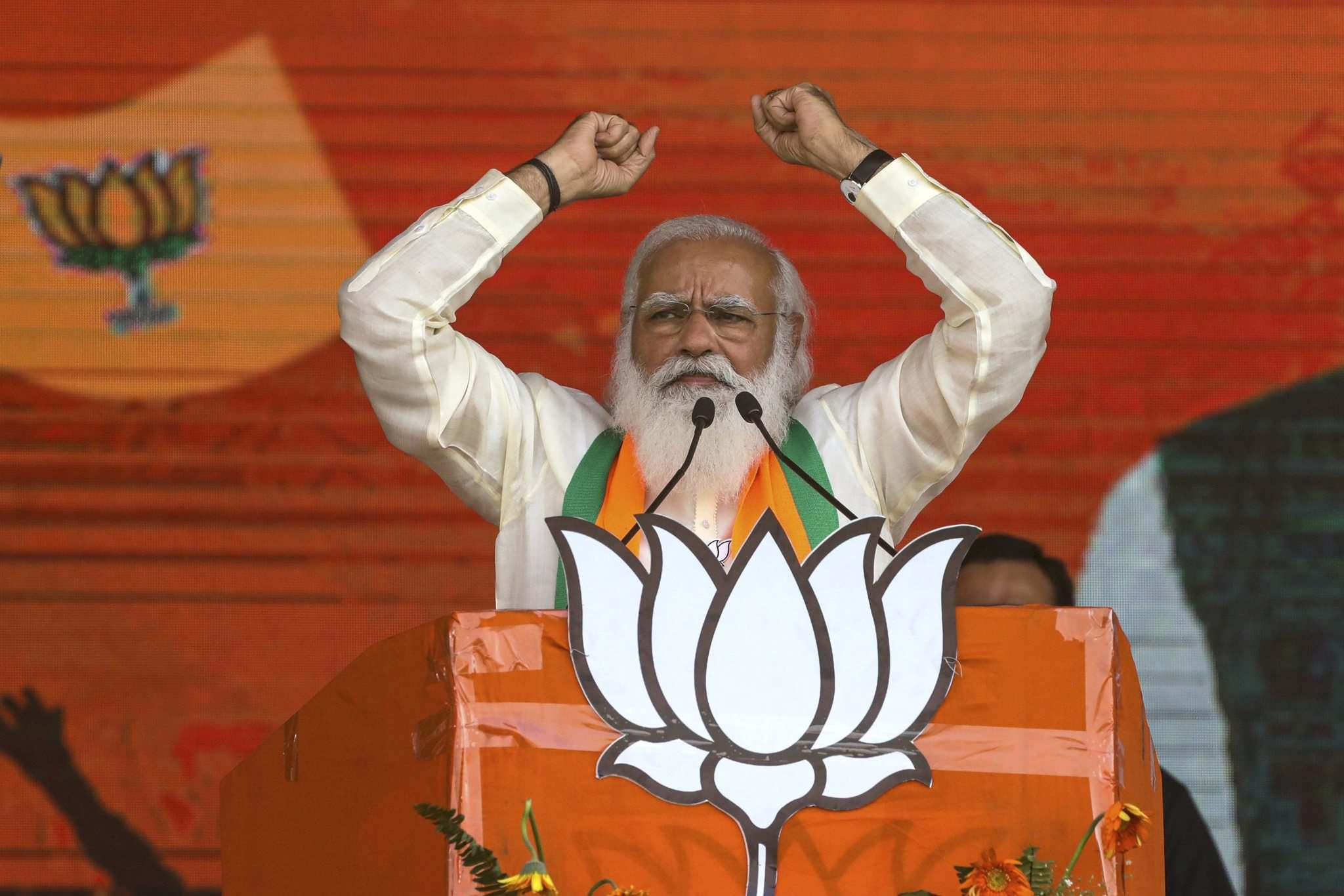 Bikas Das, File / The Associated Press Files</p><p>Indian Prime Minister Narendra Modi addresses an election rally on March 7.</p>