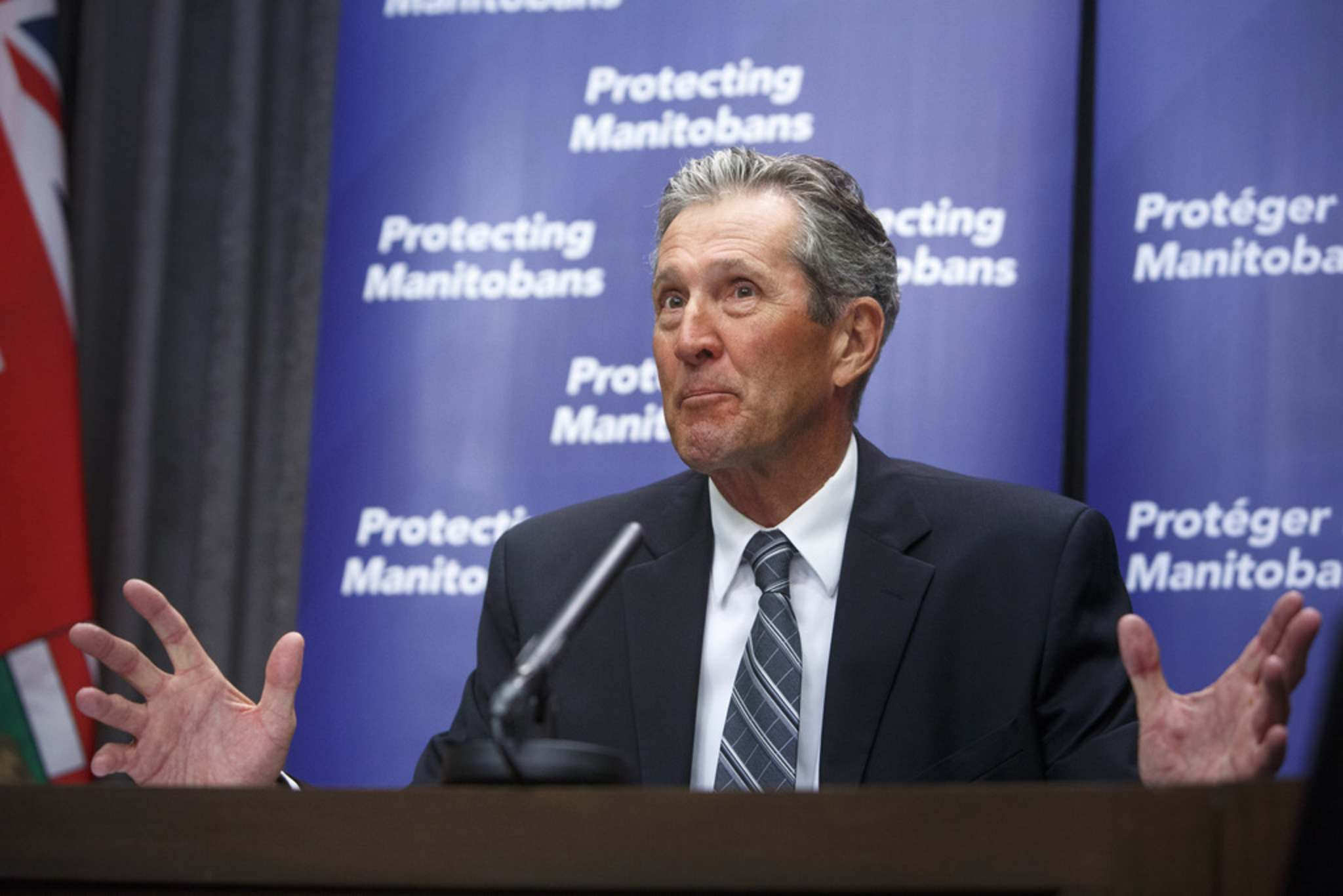 """MIKE DEAL / WINNIPEG FREE PRESS</p><p>Premier Brian Pallister: """"It's going to put some hope in people.""""</p>"""