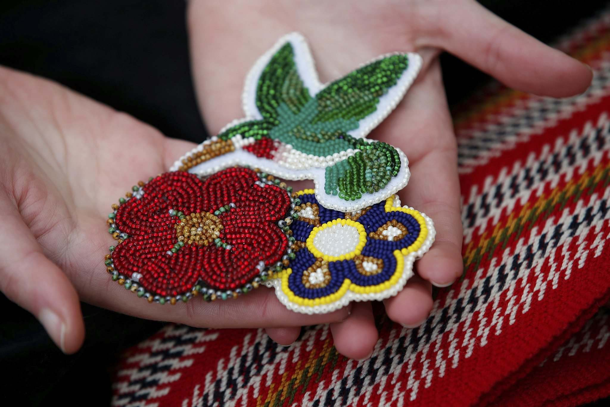 Copps makes beadwork patches for family and friends. (John Woods / Winnipeg Free Press)