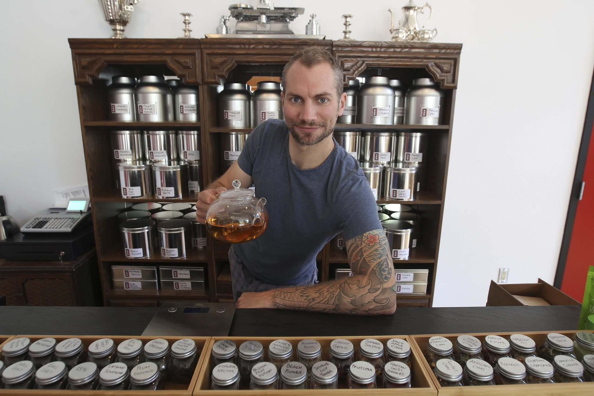 JOE BRYKSA / WINNIPEG FREE PRESS</p><p>Mark Turner came to Canada with the dream of opening a scotch bar, but ended up joining forces with Dan Card to create the Amsterdam Tea Room, which opens Sunday.</p>