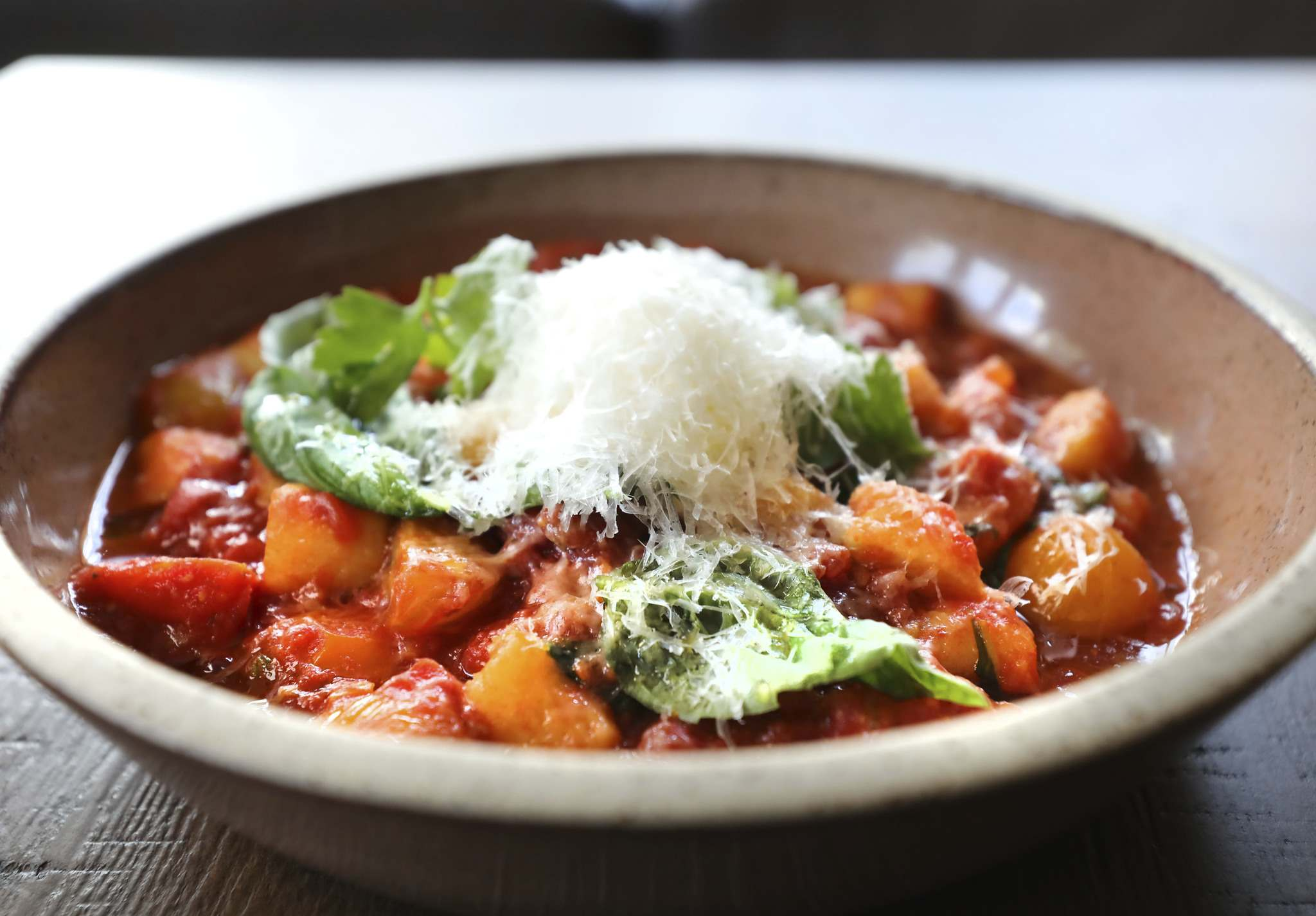 RUTH BONNEVILLE / WINNIPEG FREE PRESS</p><p>Pairing hearty pomodoro sauce with homemade gnocchi makes for a filling vegetarian meal.</p></p>