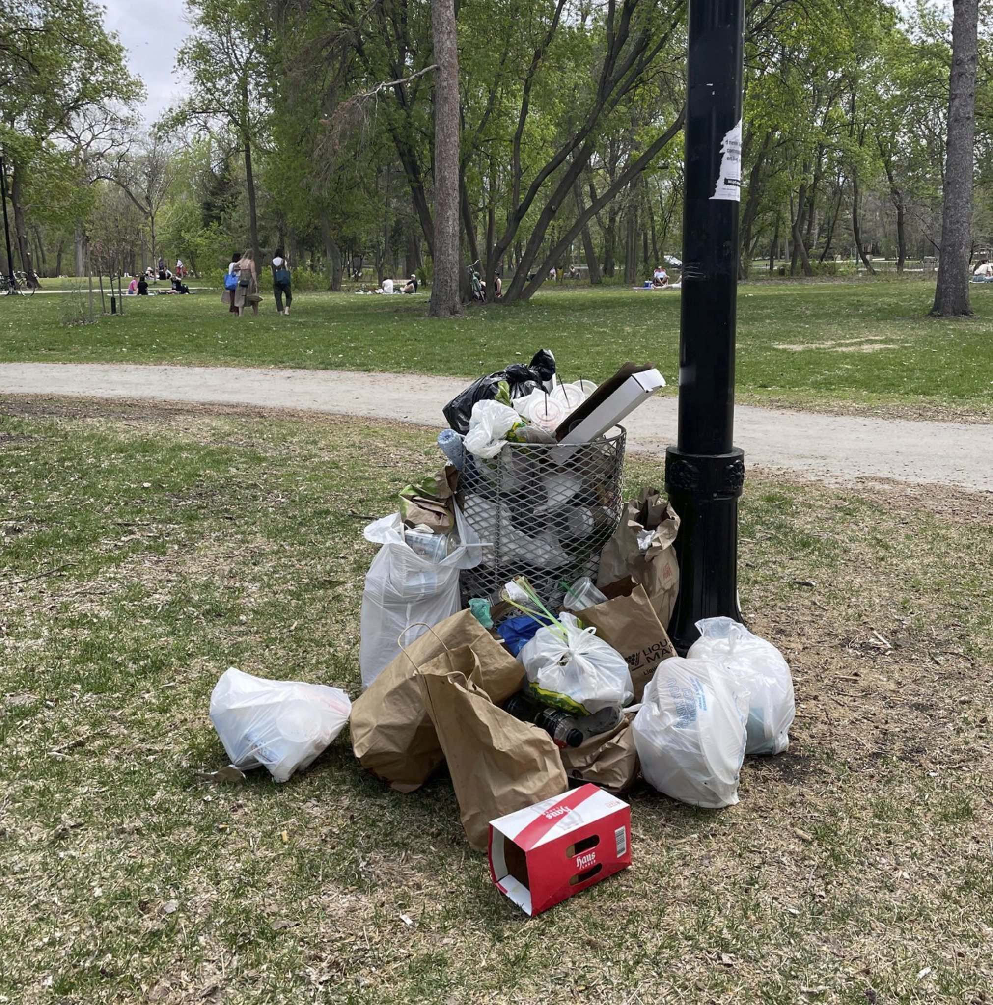 SUPPLIED </p> Overflowing garbage at Munson Park off Wellington Crescent.