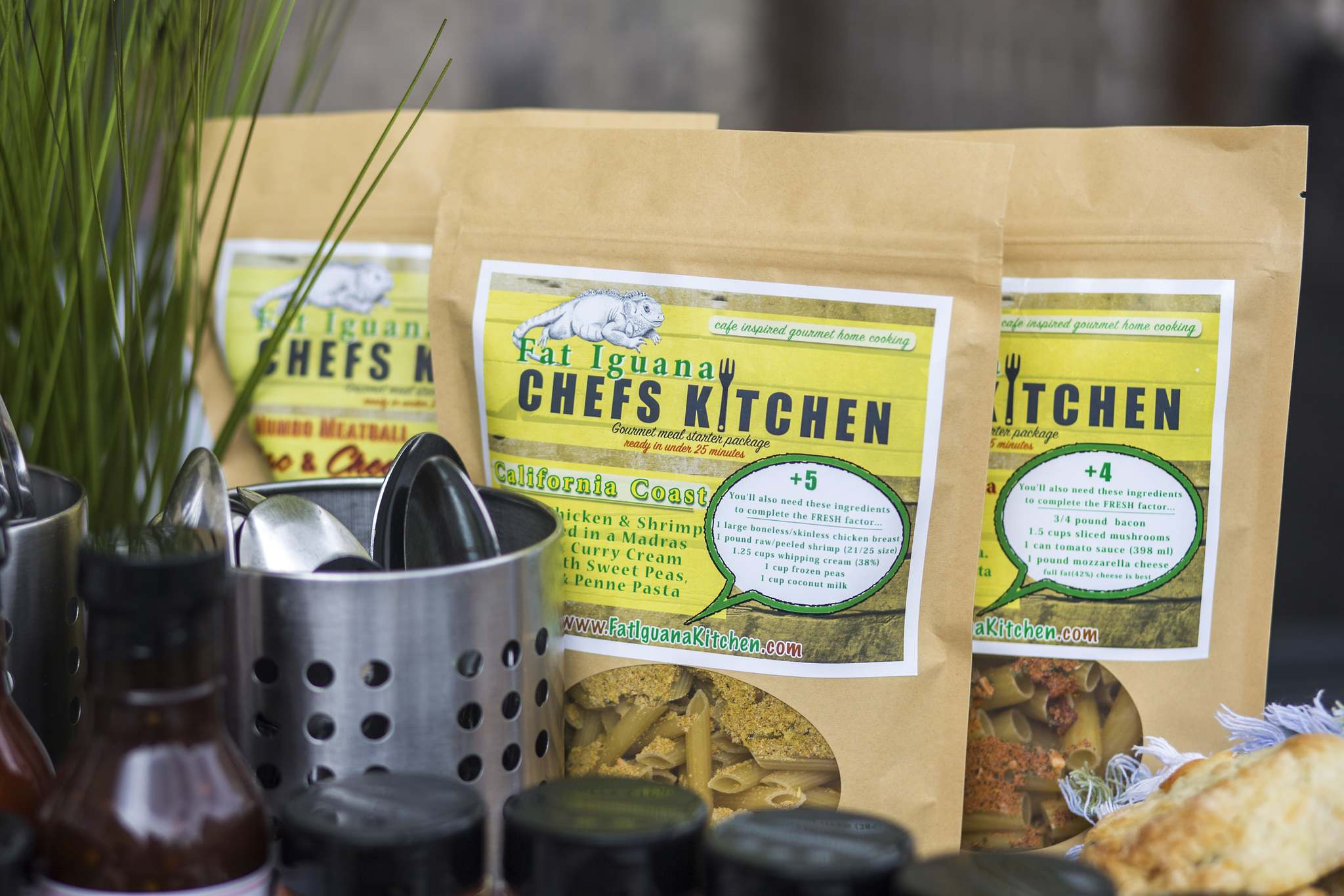 A selection of Fat Iguana Chef's Kitchen's meal-starter kits.