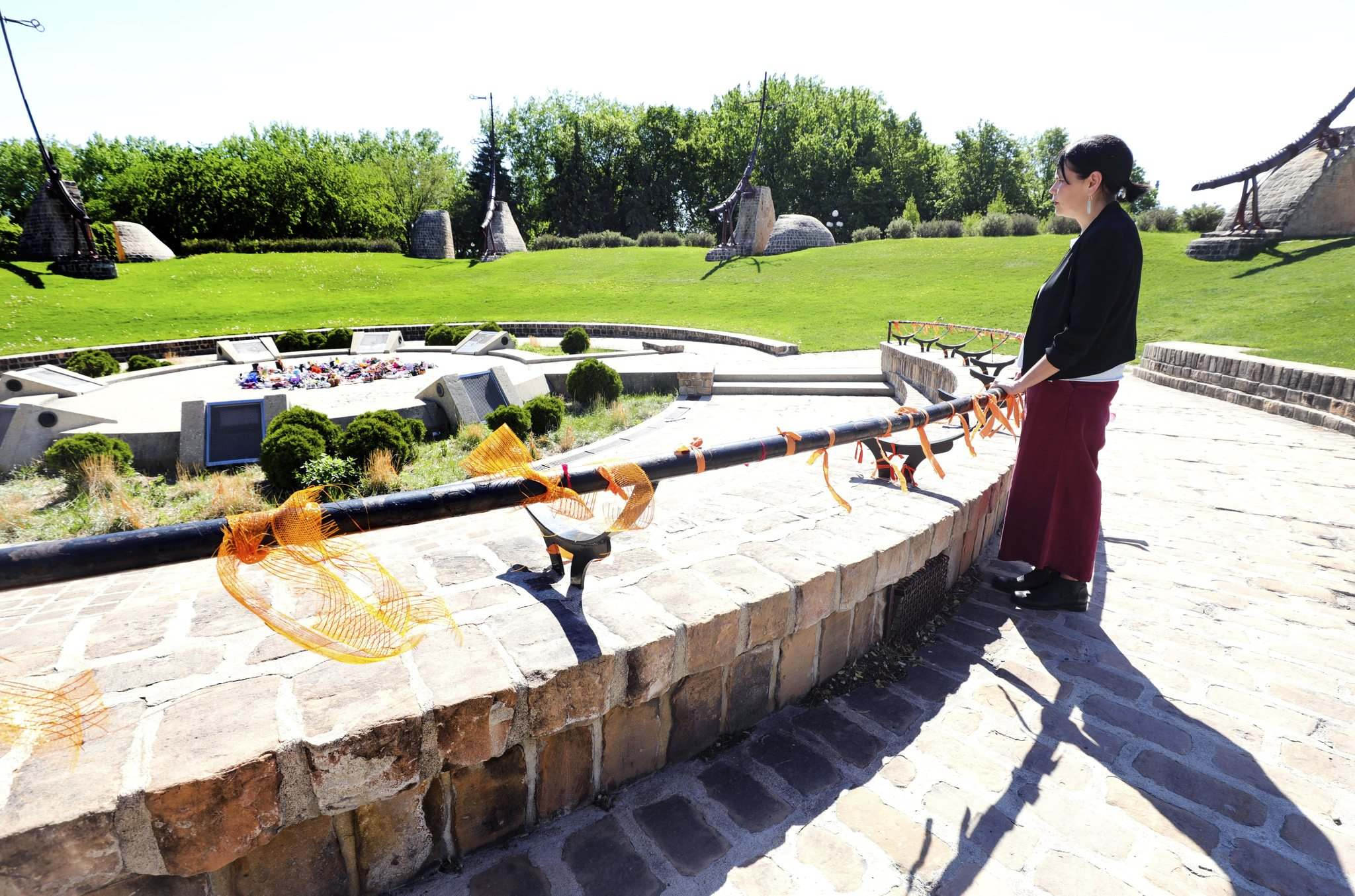 RUTH BONNEVILLE / WINNIPEG FREE PRESS</p><p>Prof. Lorena Fontaine at the Oodena Circle where a memorial of children's shoes has been created. She was mortified when she first learned one of the Brandon burial sites was turned into a trailer park.</p></p>
