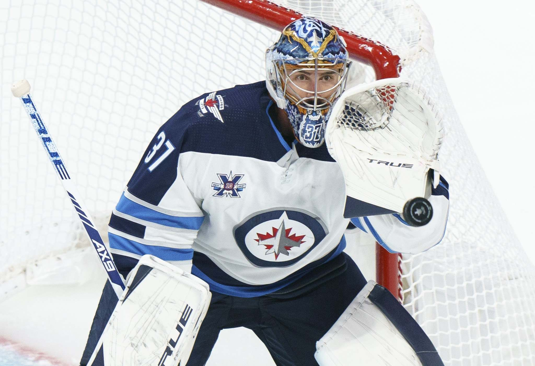 """THE CANADIAN PRESS/Paul Chiasson</p> Connor Hellebuyck, as confident as ever and never one to set the bar low, declared he thinks this franchise is on the verge of becoming a """"dynasty."""""""