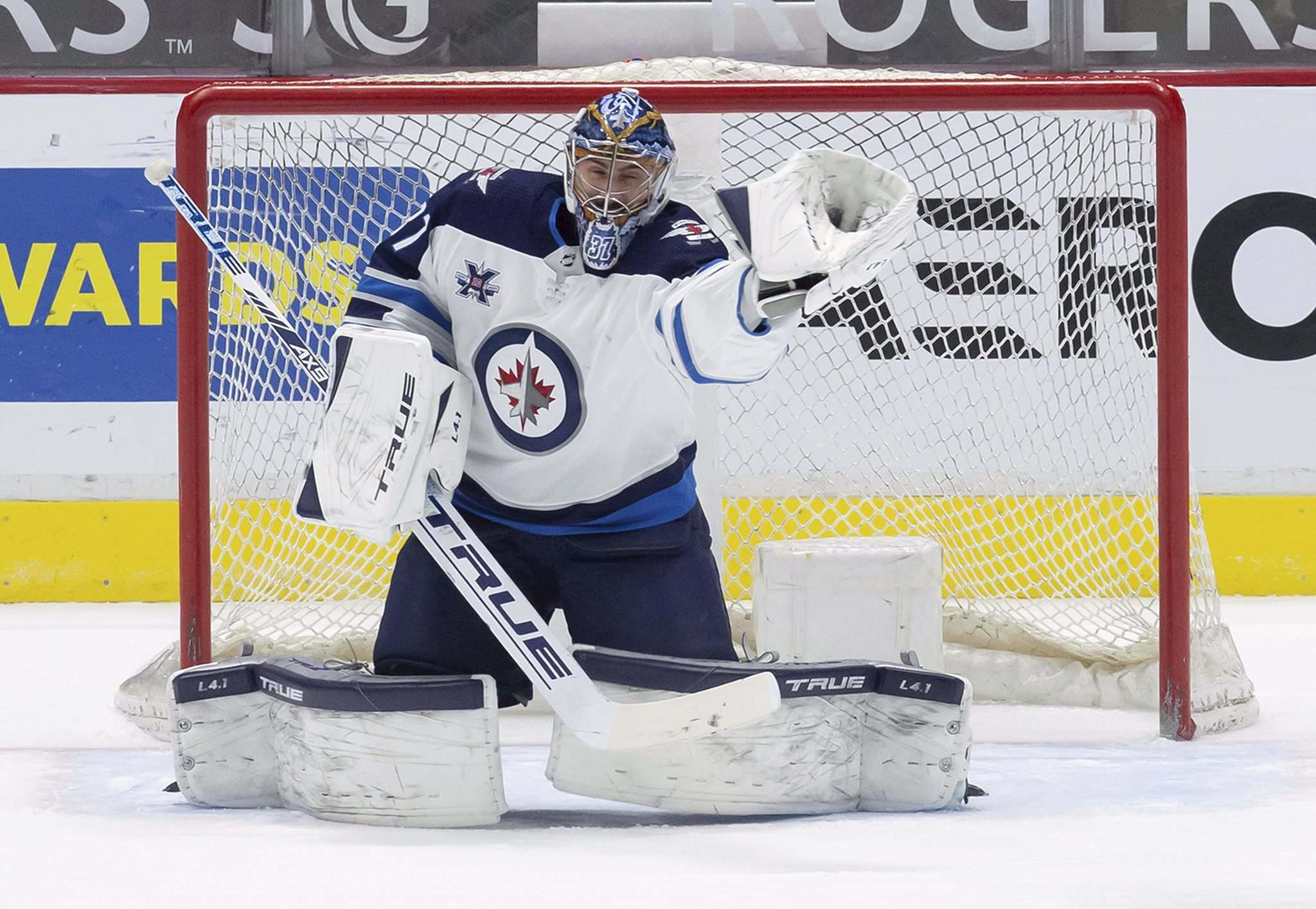 The Jets have goaltender Connor Hellebuyck under contract for the next three seasons. (Darryl Dyck / The Canadian Press files)</p></p>