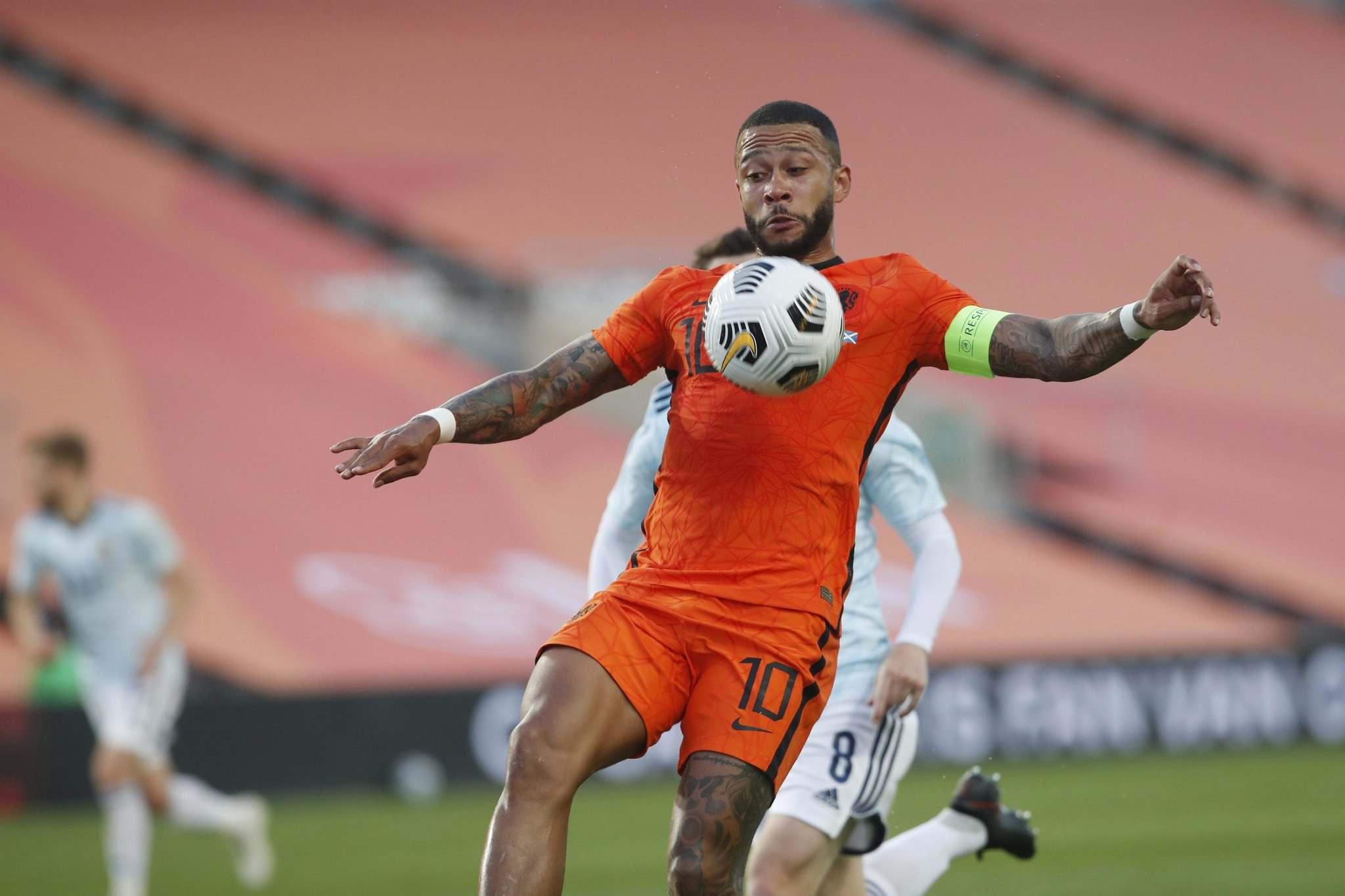 Miguel Morenatti / The Associated Press files</p><p>Netherlands' Memphis Depay controls the ball during the international friendly soccer match between the Netherlands and Scotland at the Algarve stadium outside Faro, Portugal, June 2.</p>