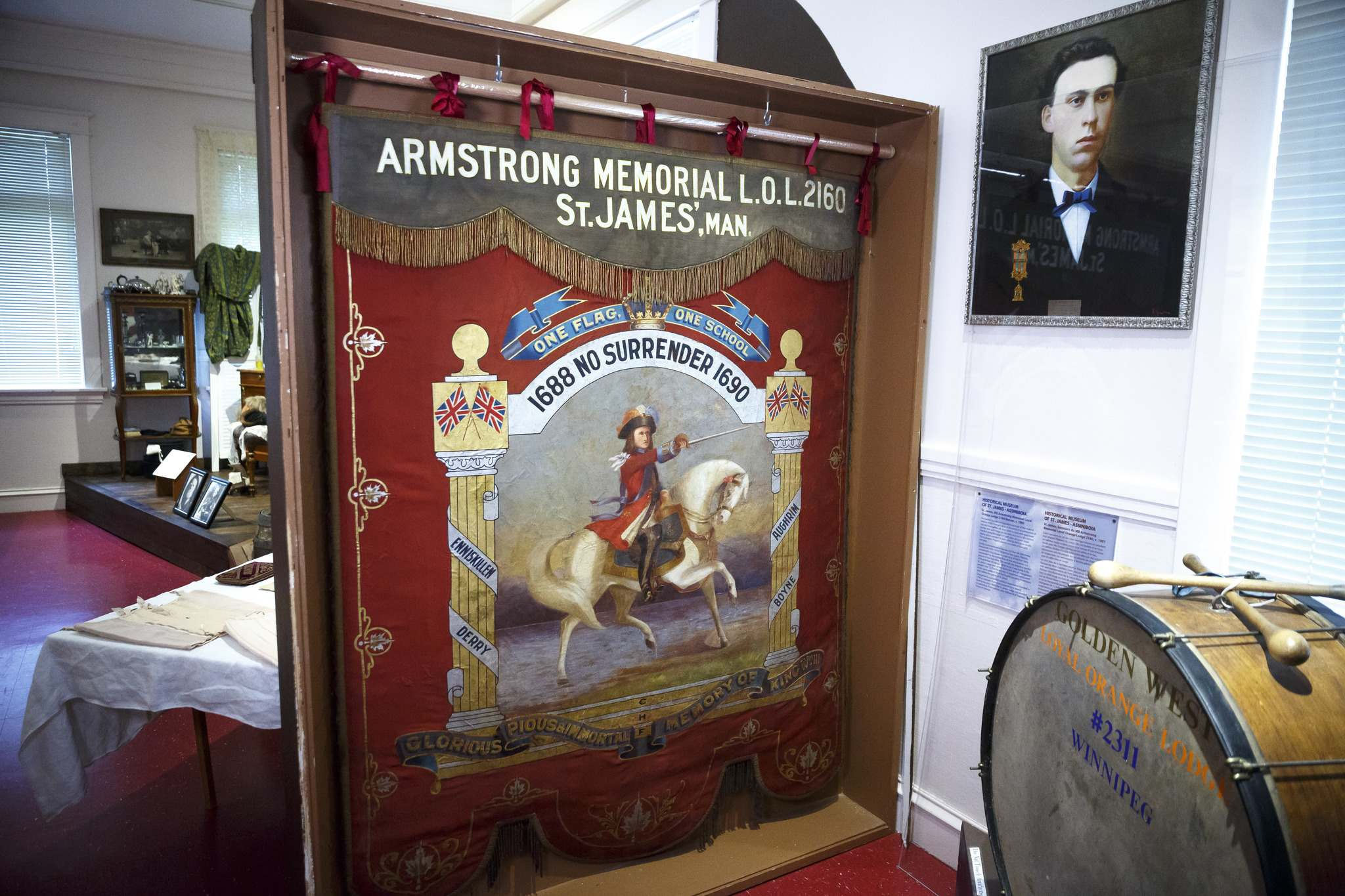 The St. James Armstrong Memorial Loyal Orange Lodge 2160 banner, circa 1901. The banner is a rare example of the material history of the Orange Lodge in Manitoba. (Mike Deal / Winnipeg Free Press)</p>