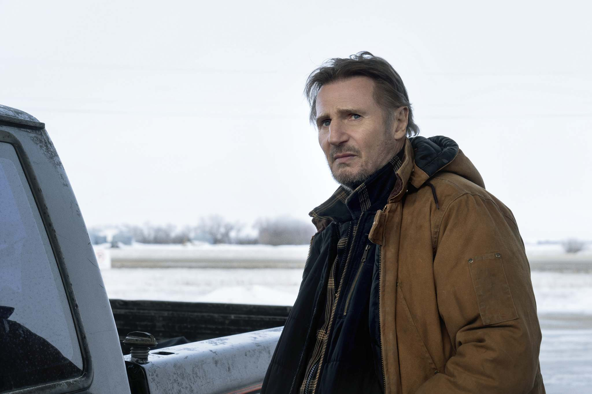 Liam Neeson is a trucker on a mission to save trapped miners in Northern Manitoba in The Ice Road. VVS Films.</p>