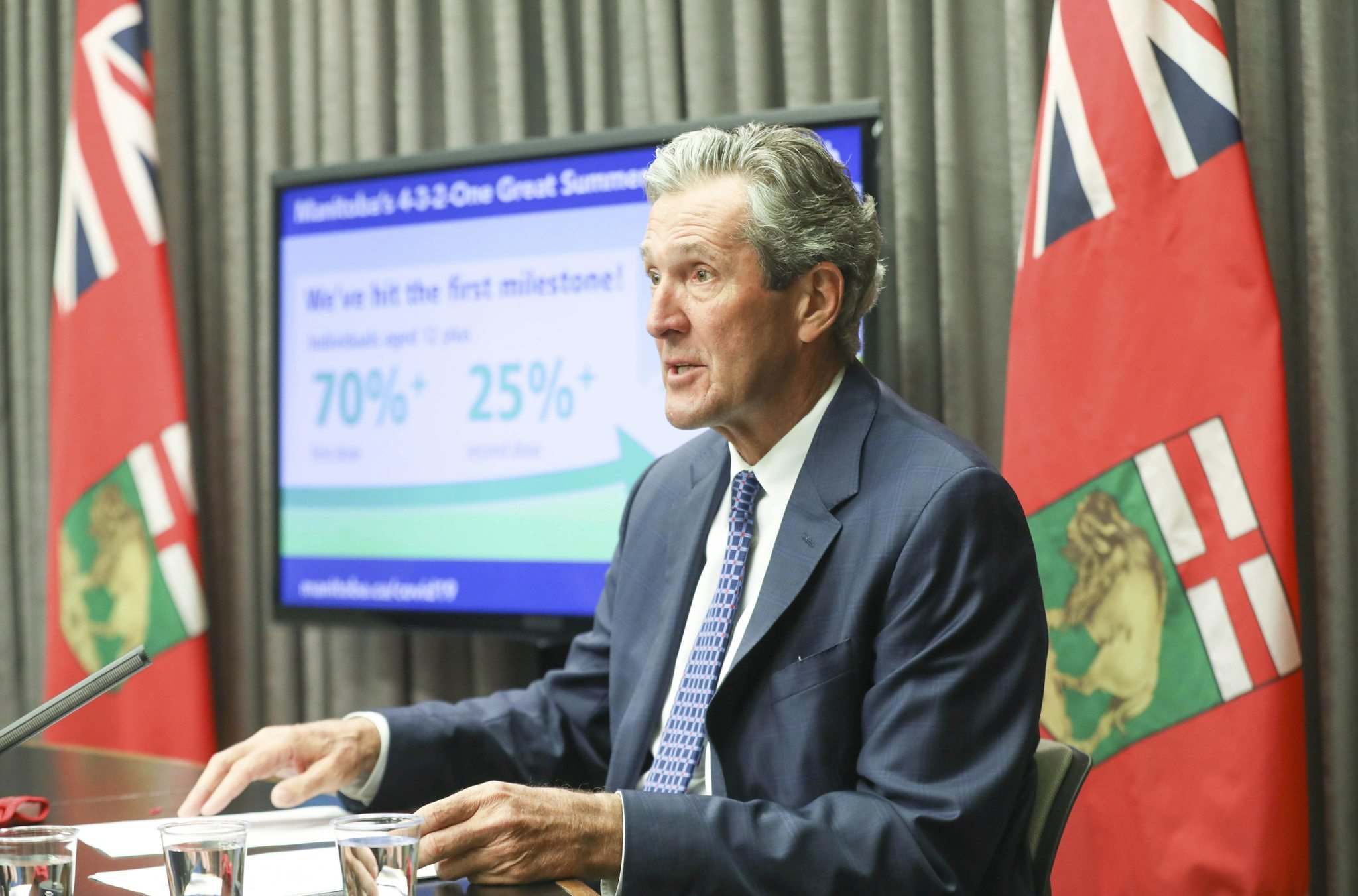 """RUTH BONNEVILLE / FREE PRESS FILES</p><p>It's a way to """"ensure and encourage Manitoba employees to get vaccinated,"""" Premier Brian Pallister told reporters at a news conference Thursday.</p></p>"""