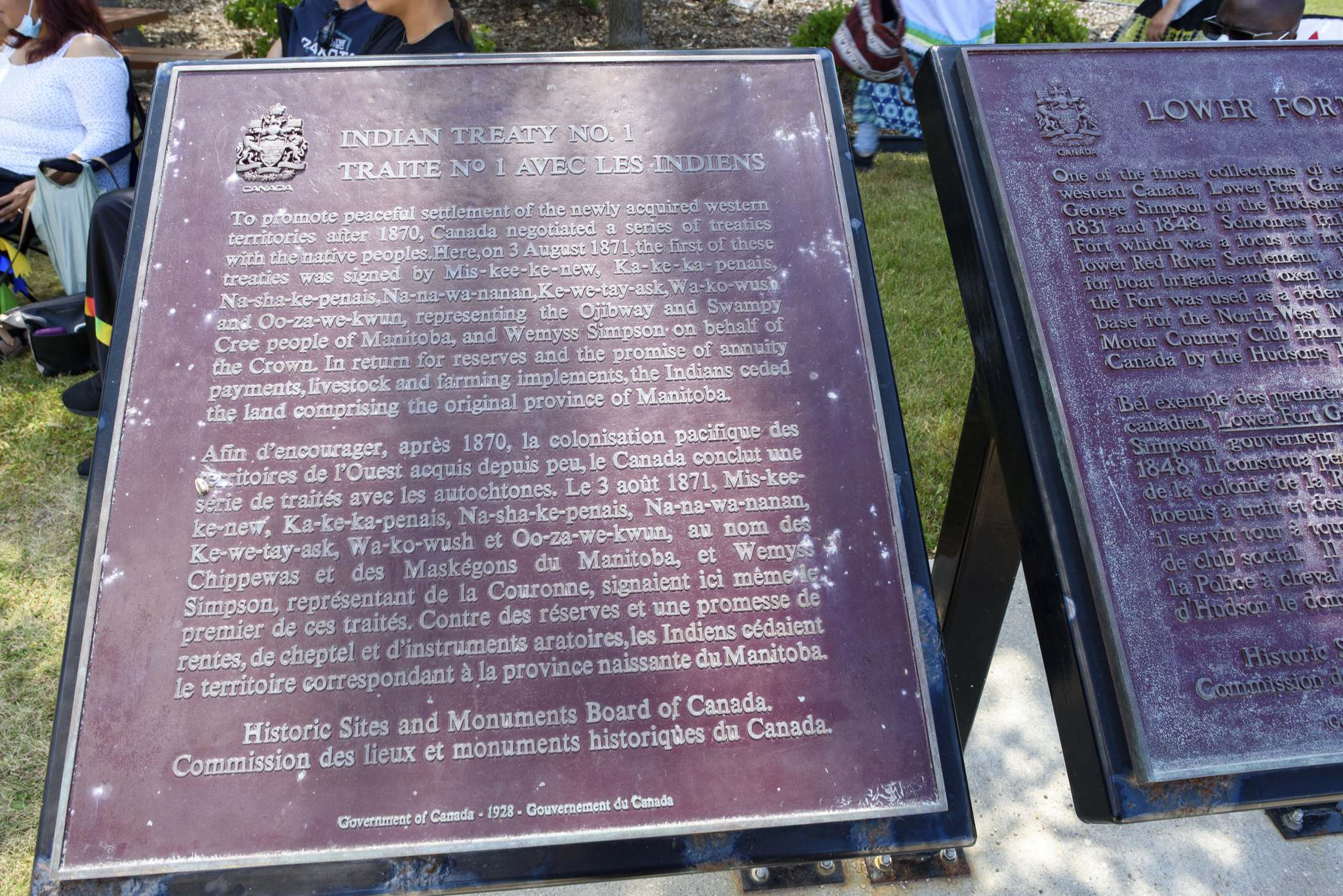 JESSE BOILY / WINNIPEG FREE PRESS</p><p>Plaques at Lower Fort Garry commemorate the signing of Treaty 1 in 1871.</p>