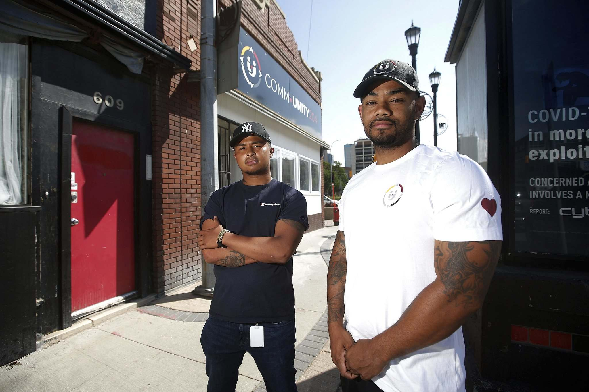 Rylee Nepinak (left) of Anishiative, and Daniel Hidalgo of CommUNITY204, which are volunteer groups, see value in diversifying the Winnipeg Police Service, but maintain structural change to the service's internal culture will be necessary to garner trust between police and marginalized communities. (John Woods / Winnipeg Free Press)</p></p>