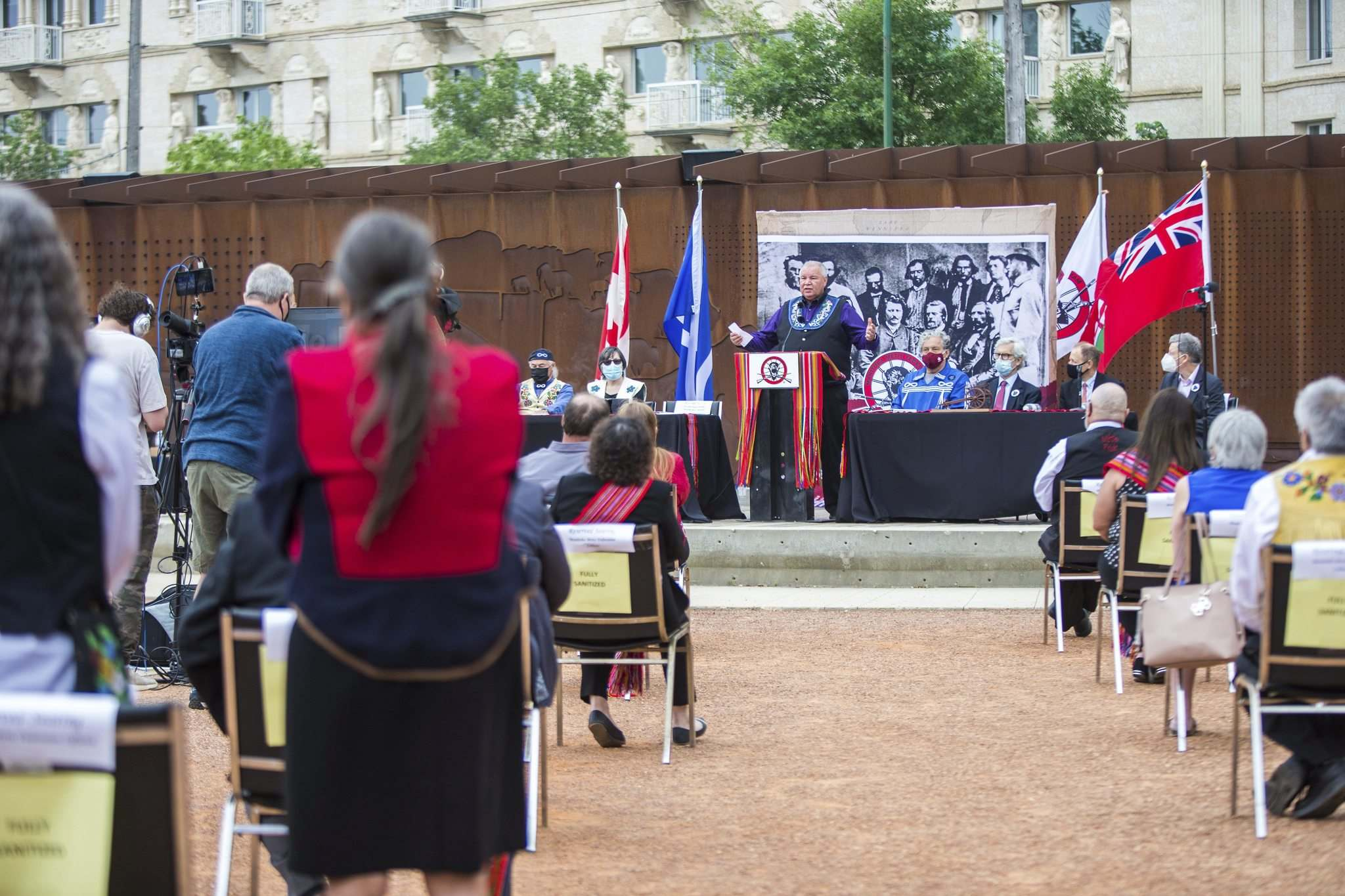 Chartrand speaks at the signing ceremony that was held at Upper Fort Garry Heritage Provincial Park in Winnipeg on Tuesday.