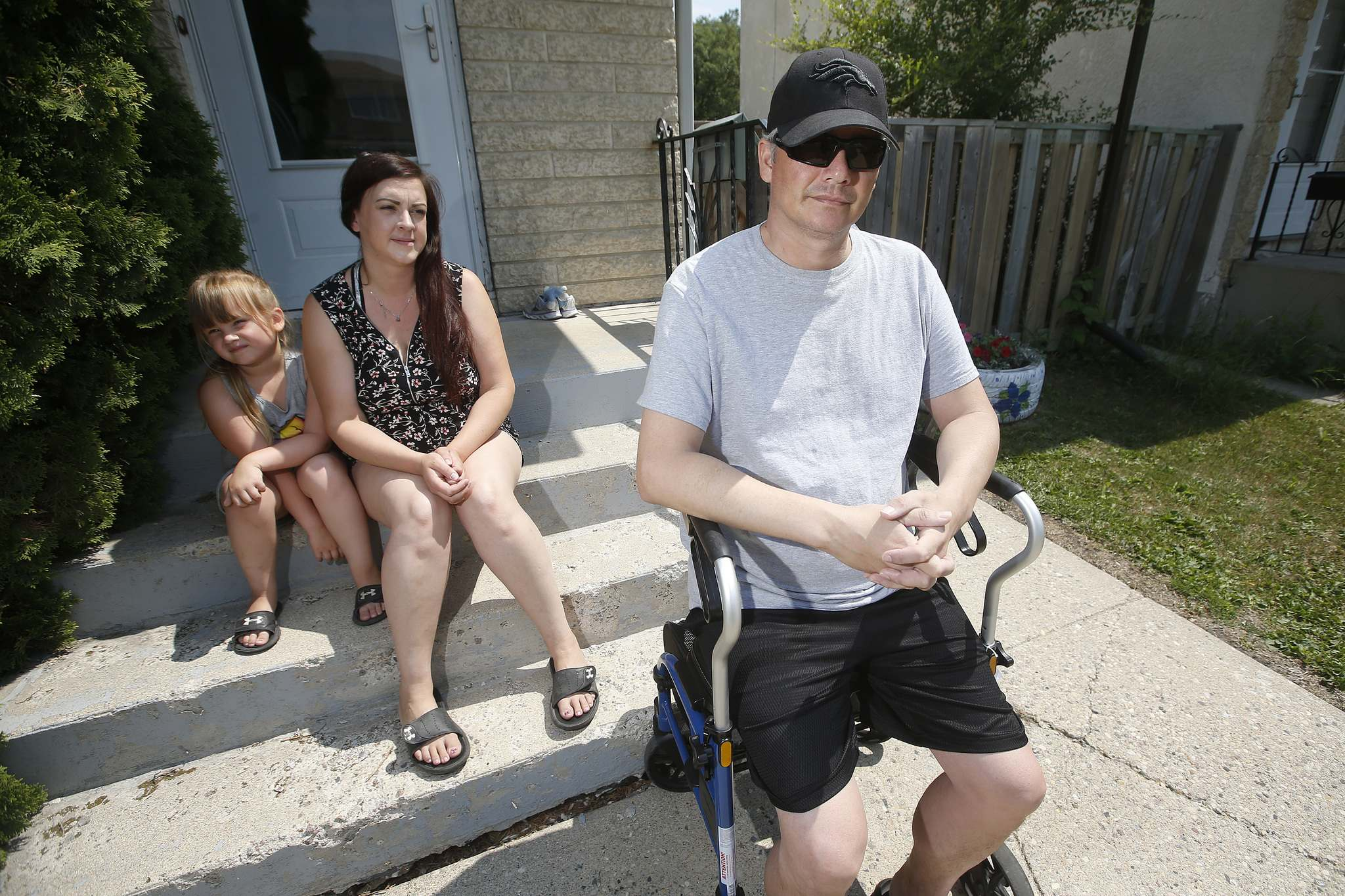 Miles Kasprick needs a walker to get around and homecare for some of his medical needs following hospitalization for COVID-19. (John Woods / Winnipeg Free Press)
