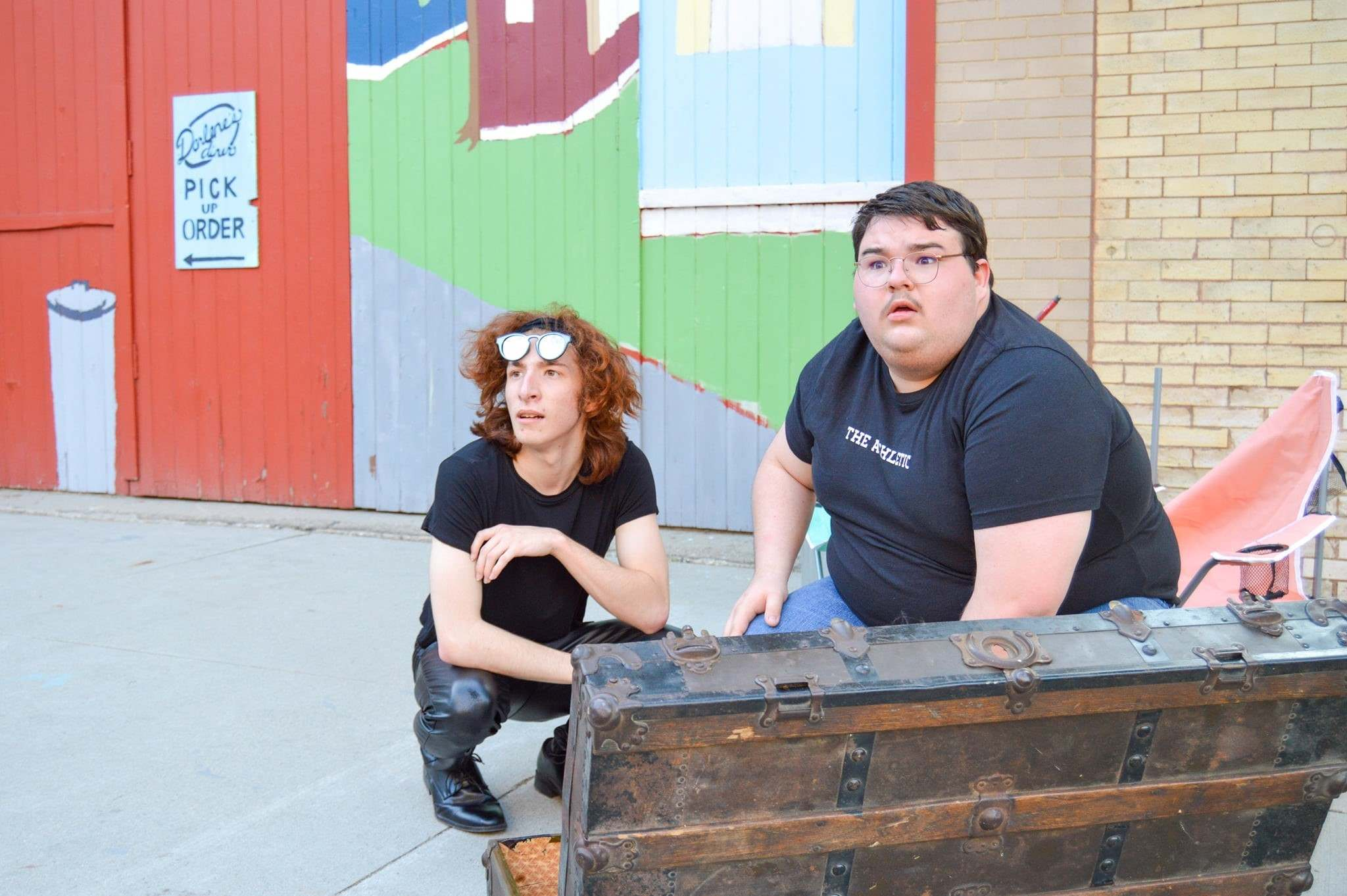 Two would-be thieves rob a prop treasure chest from a pirate-themed dinner theatre in Fool's Gold, produced by Greater Grand Forks Community Theatre.</p>