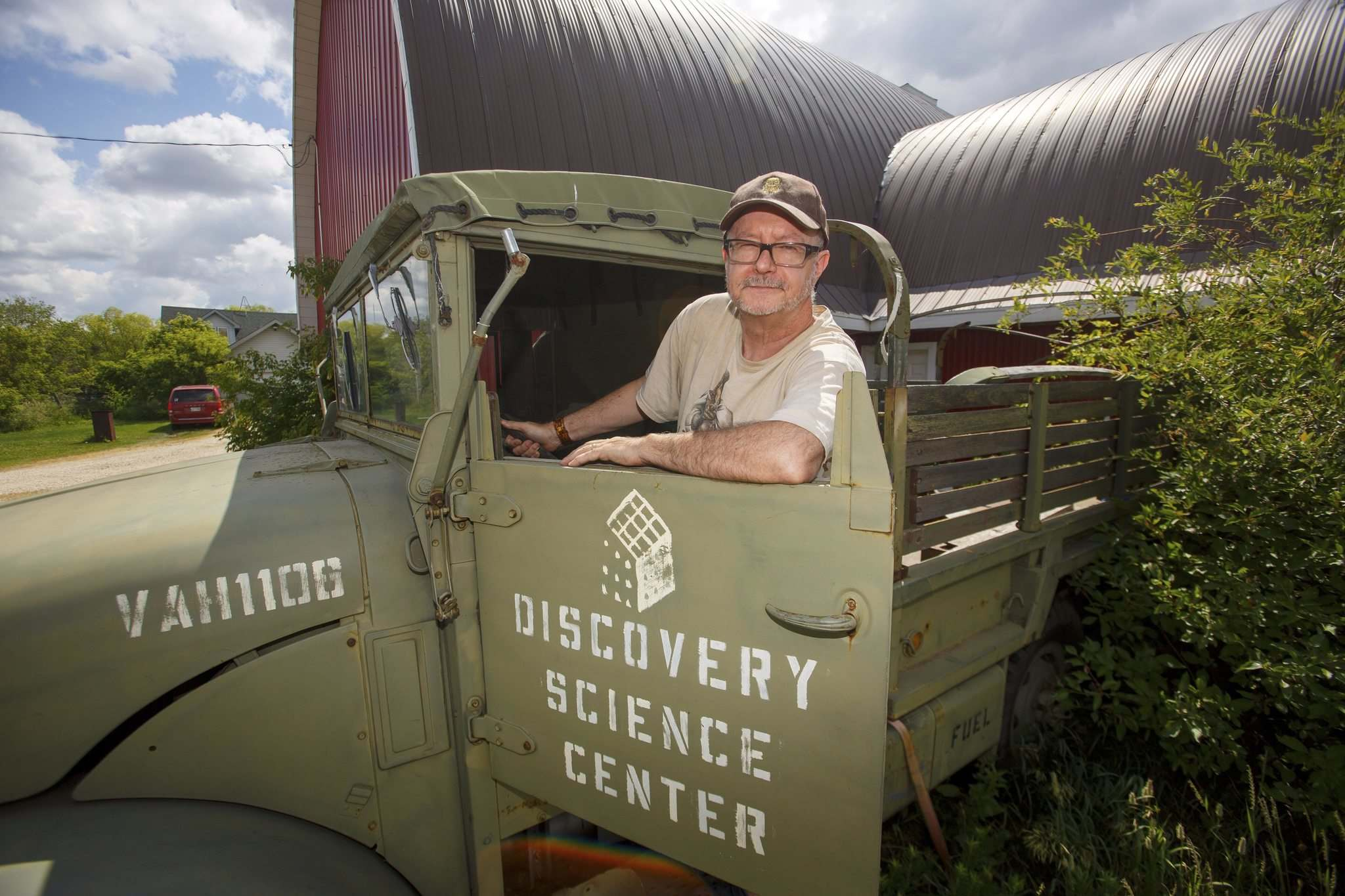 MIKE DEAL / WINNIPEG FREE PRESS</p><p>Les David, owner of the world's largest collection of Raiders of the Lost Ark and Indiana Jones memorabilia, with one of the military trucks used in the shooting of the movies that ended up in the touring Discovery Science Centre exhibit. When the exhibit moved overseas the truck was sold off.</p></p>