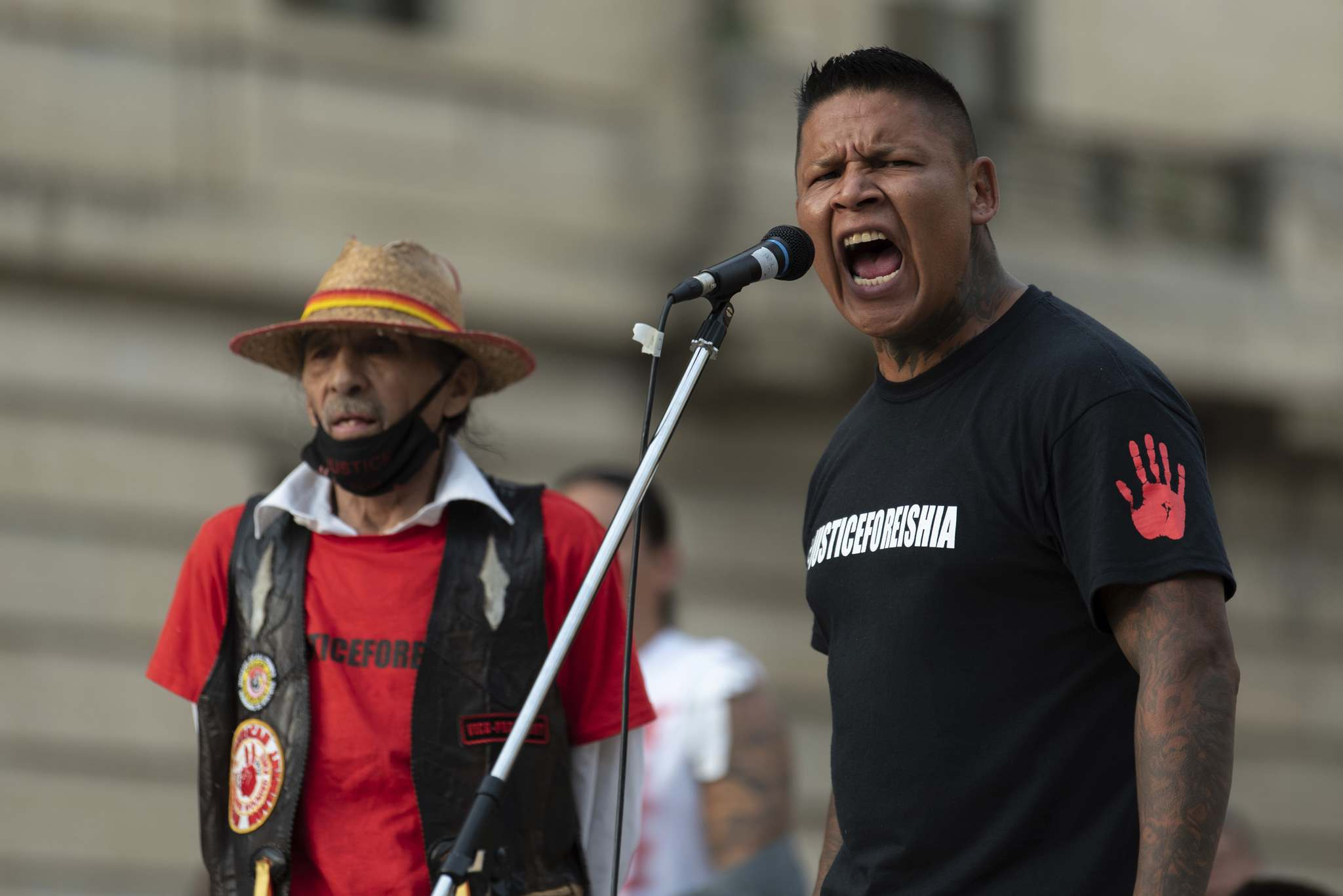 JESSE BOILY / WINNIPEG FREE PRESS</p><p>William Hudson, the father of Eishia Hudson, speaks to hundreds who gathered to bring awareness to police violence and the death of Eishia Hudson outside the legislative building.</p>