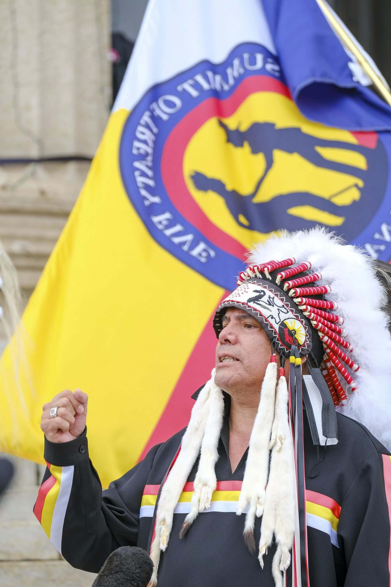 """""""Today we are not here to topple any statutes; we're here to topple a government that is racist; a government that has no place in this legislature,"""" Northern Grand Chief Garrison Settee said."""