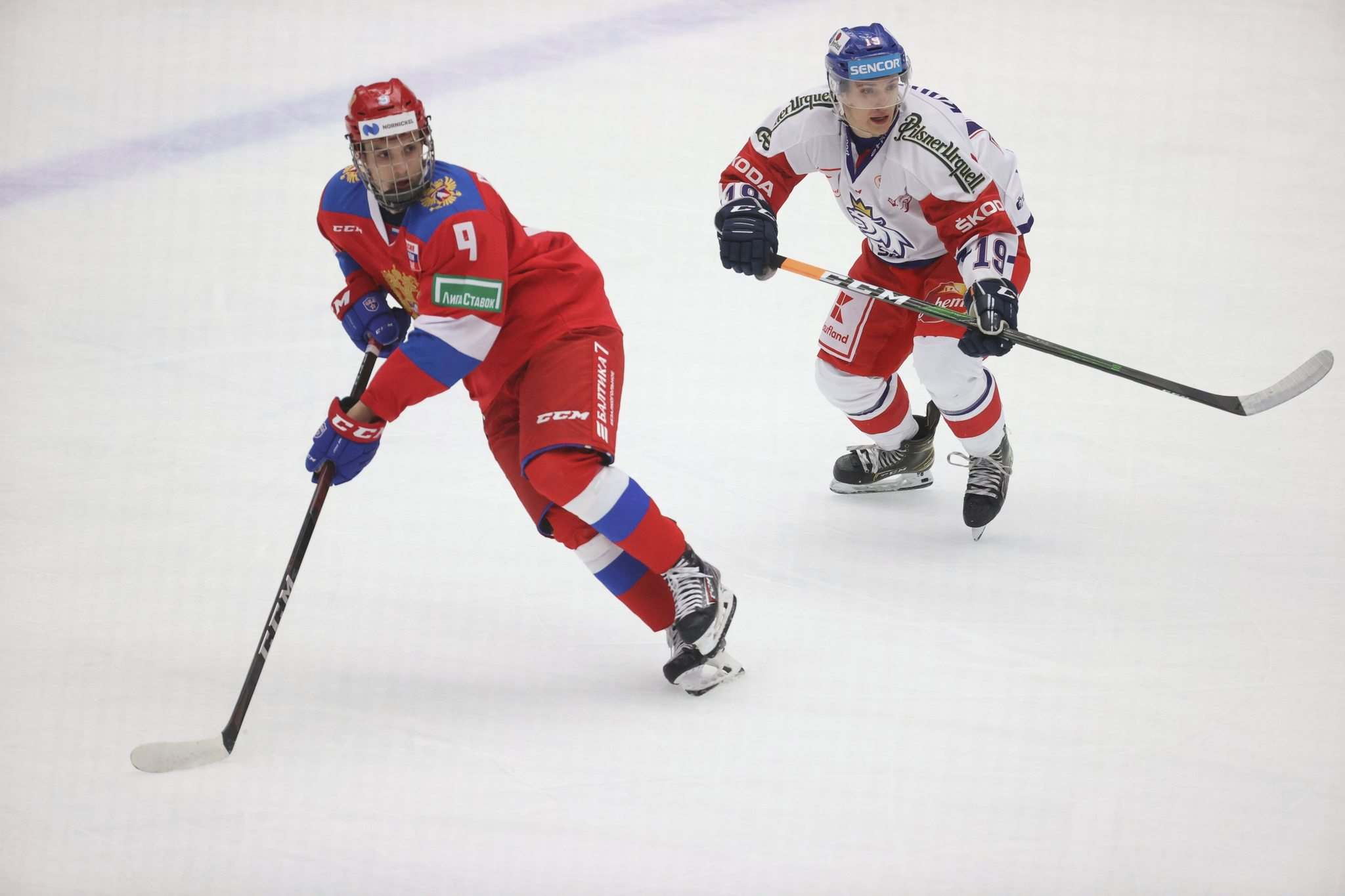 The Winnipeg Jets made Russian Nikita Chibrikov (left) the club's second-round draft choice on Saturday with the 50th overall pick. (Andreas Hillergren / TT News Agency via The Associated Press)</p>