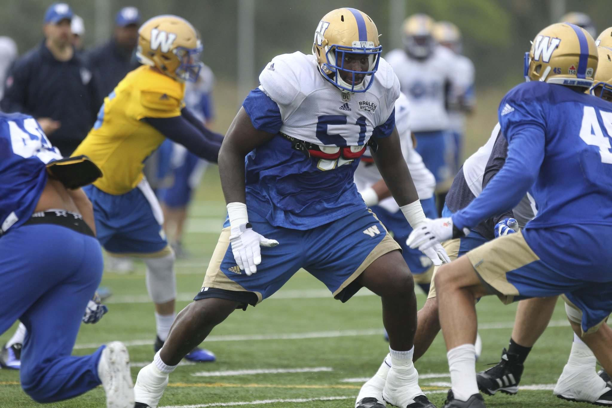 Ruth Bonneville / Winnipeg Free Press files</p><p>Blue Bombers O-lineman Jermarcus Hardrick as a knack for getting the fans into the game. </p></p>