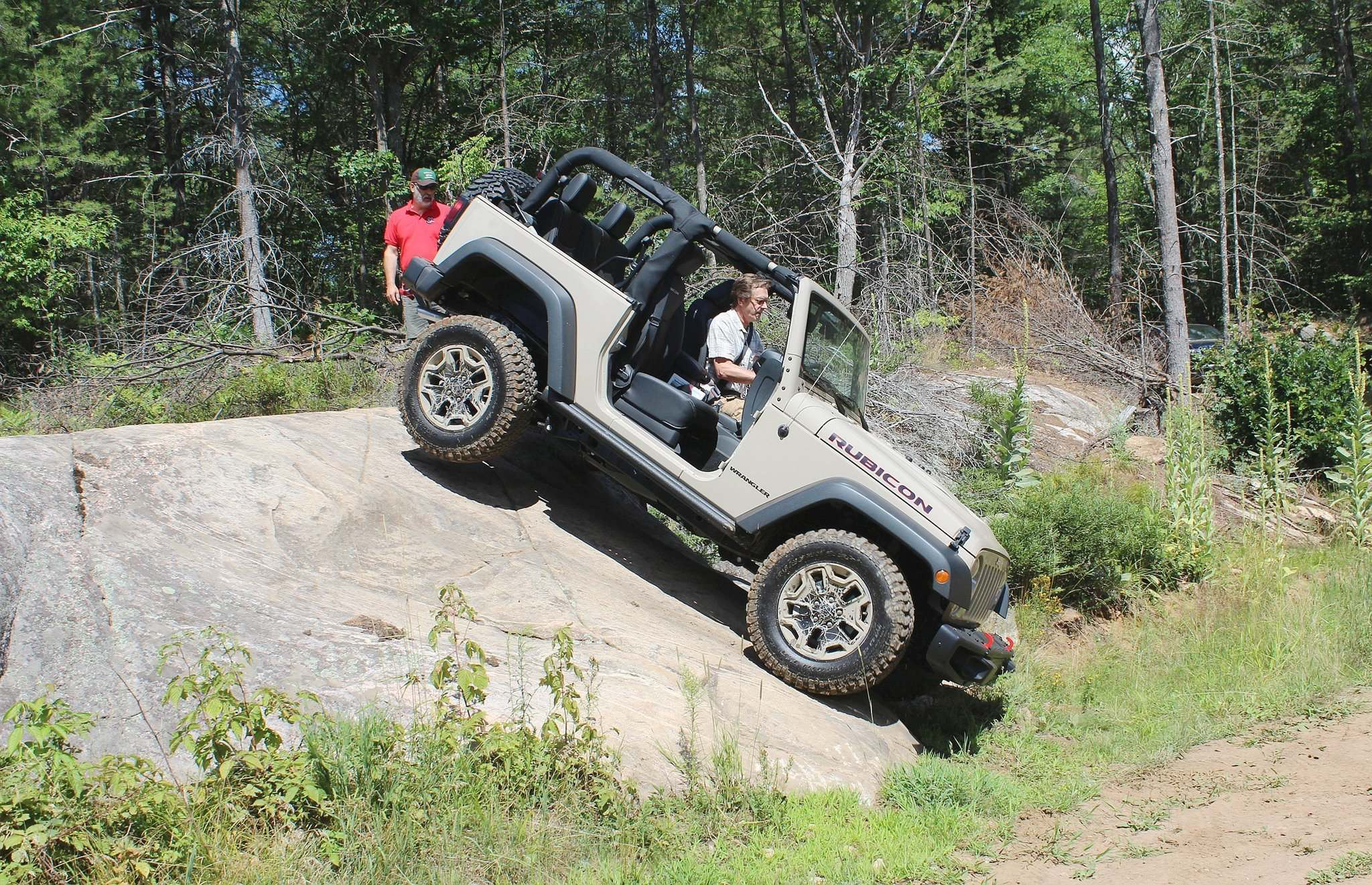 Peter Bleakney having a blast off-road in a 2016 Jeep Wrangler Rubicon.
