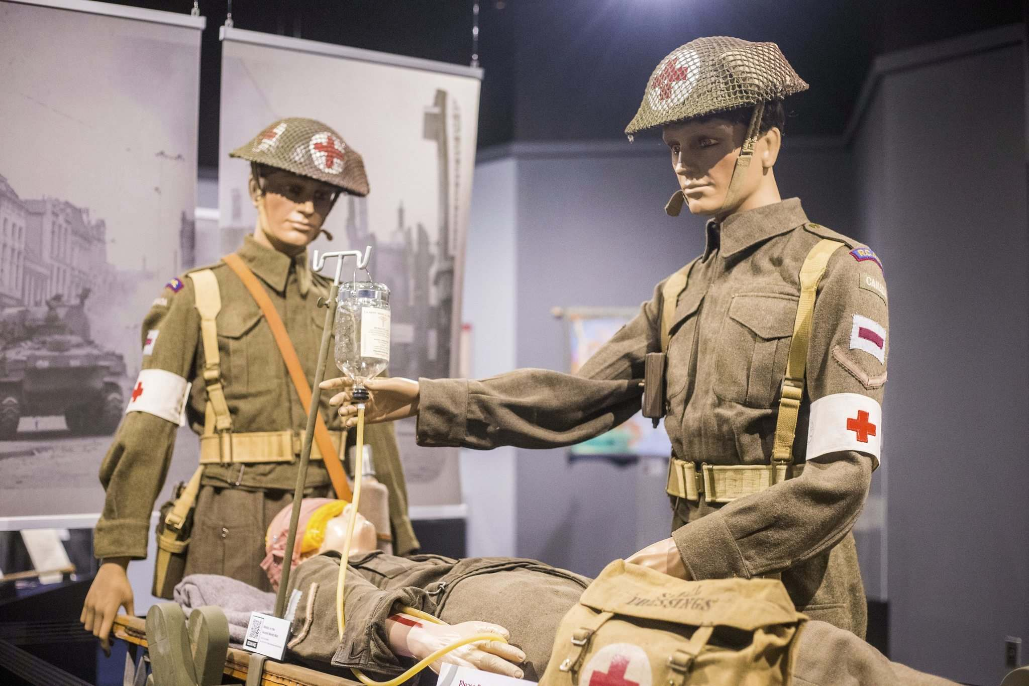 A display in Mennonites at War demonstrates the fact that pacifistic Mennonites often chose to become medics instead of taking more violent roles in the military. (Mikaela MacKenzie / Winnipeg Free Press)</p>