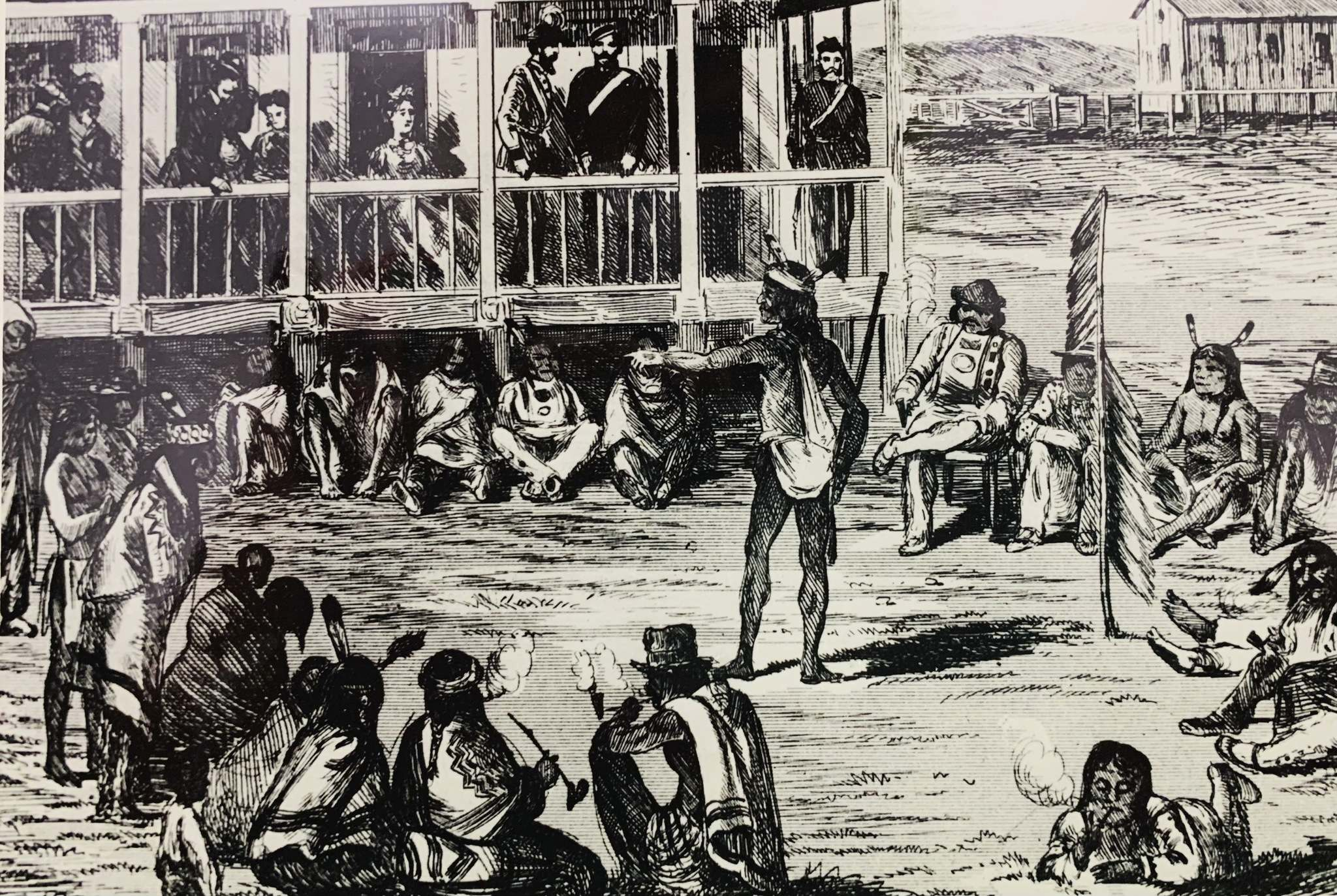 Archives of Manitoba</p><p>An artist's depiction of the signing of Treaty 1 at Lower Fort Garry in August 1871.</p>
