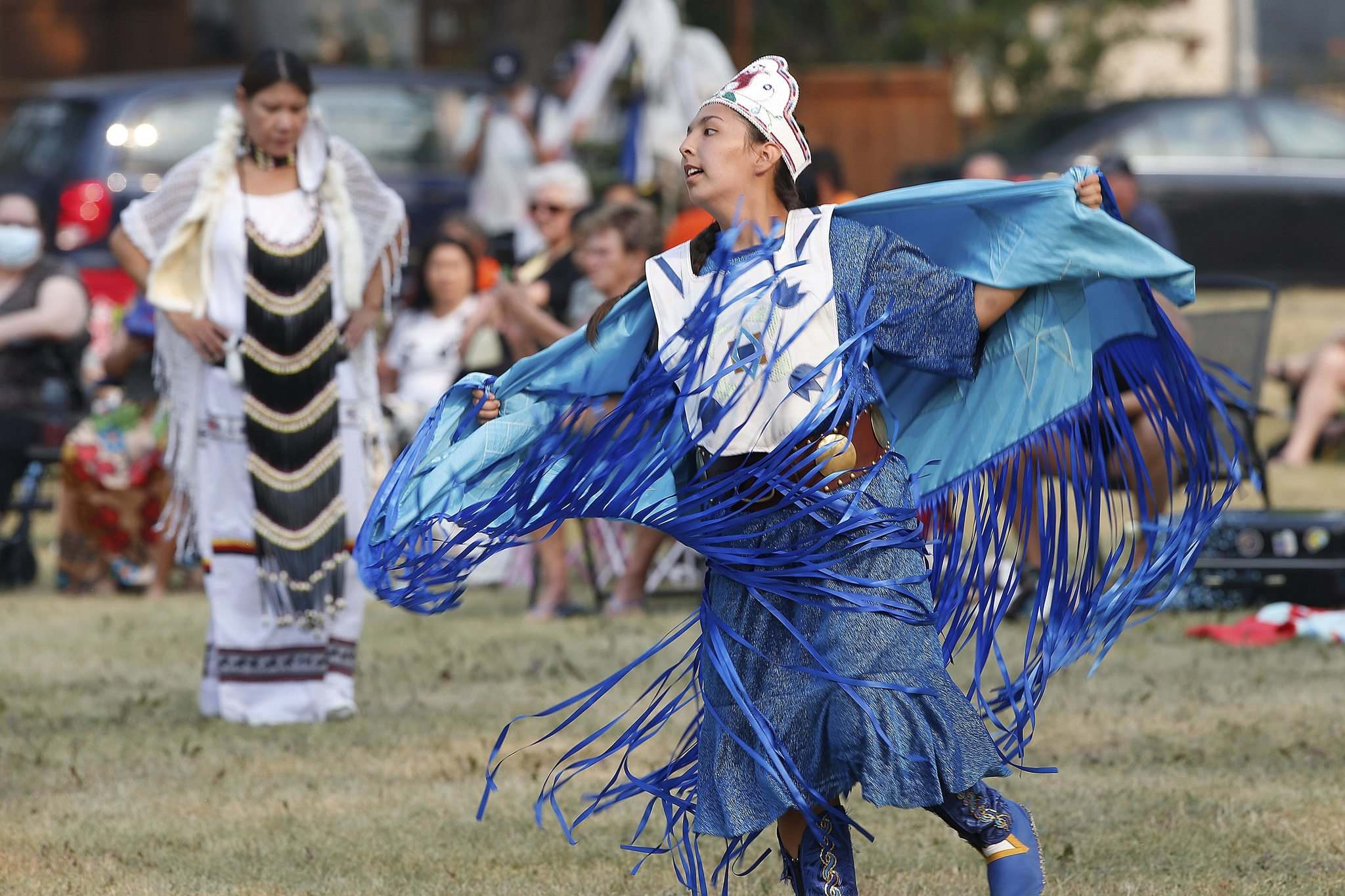 Cierra Roulette, who was also one of the event organizers, dances at the powwow. (John Woods / Winnipeg Free Press)</p></p>