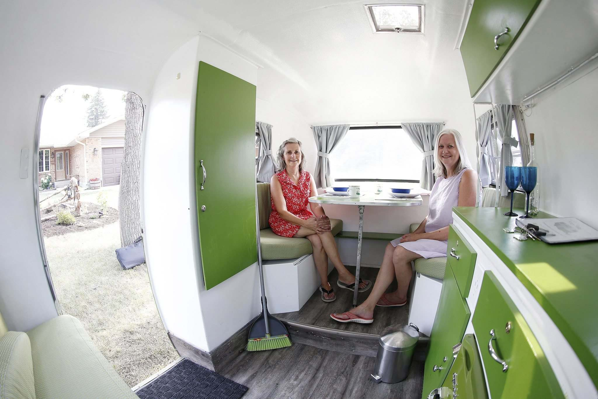 JOHN WOODS / WINNIPEG FREE PRESS</p><p>Friends Susan Hopps (left) and Sharon McCoomas bought and renovated a 1973 Boler last year. When it was first listed as a rental, they had 60 replies in the first hour.</p>