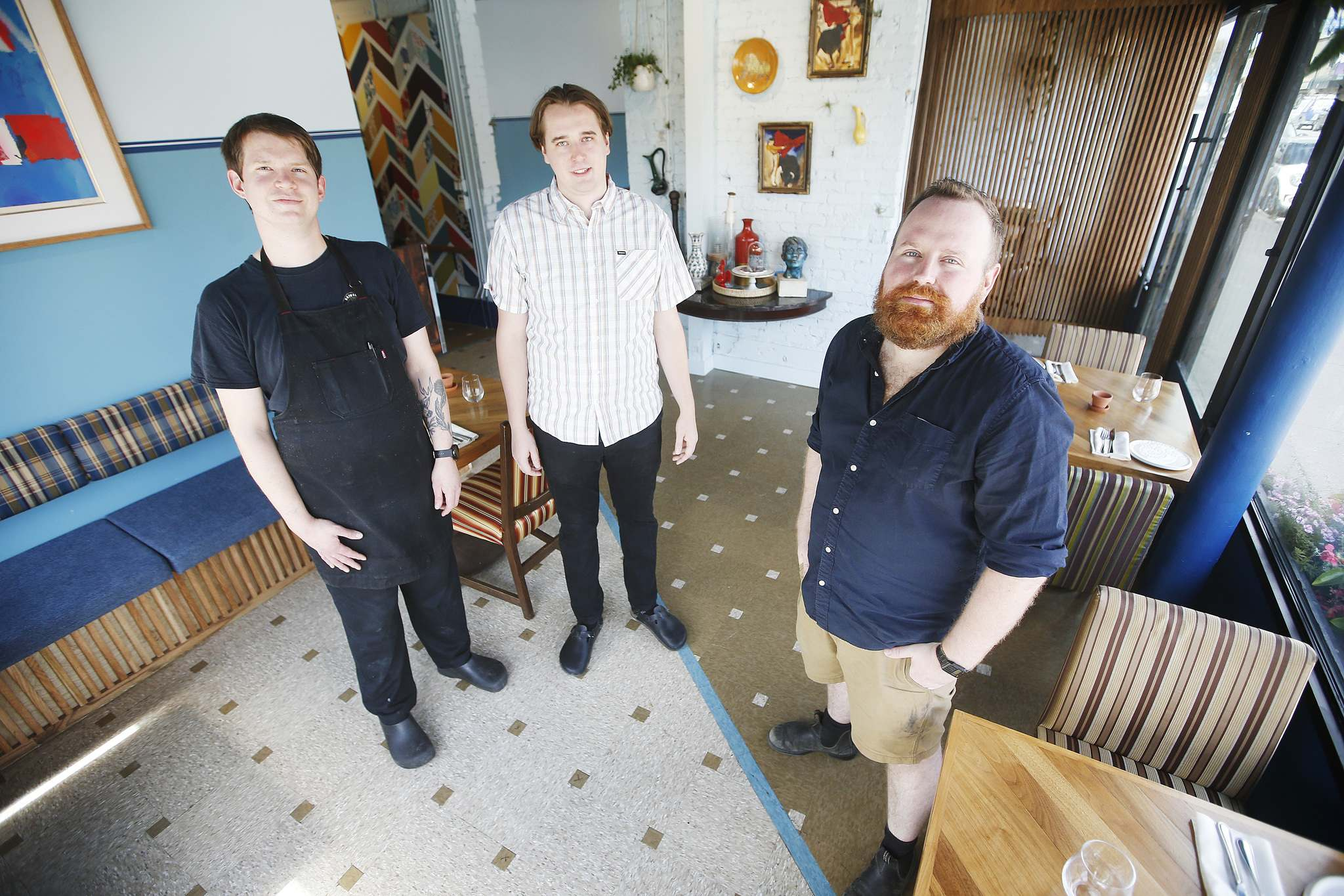 From left, Matthew Edmond, sous chef, Kurt Kolbe, head chef, and Erik Thordarson, are part owners of Tabula Rasa, a new restaurant that will be opening soon in South Osborne.</p>