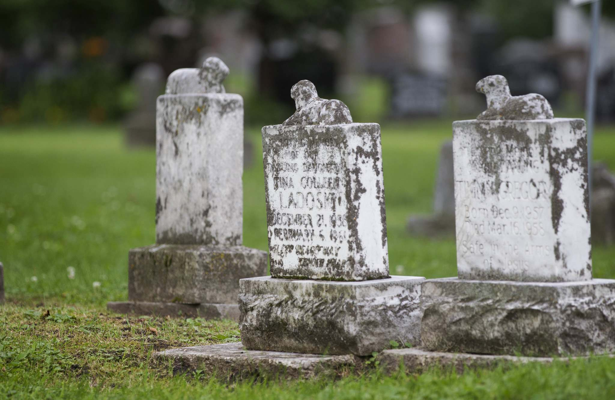Many children are buried in this cemetery, some with lambs on their headstones.</p></p>