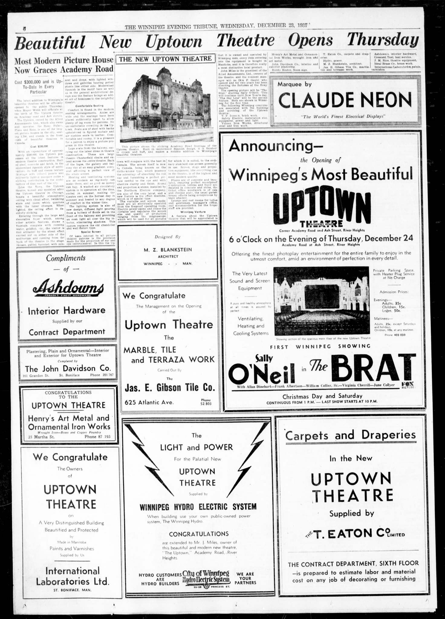 An article and advertisement in the Dec. 23, 1931 Winnipeg Tribune announce the opening of Uptown Theatre.</p>