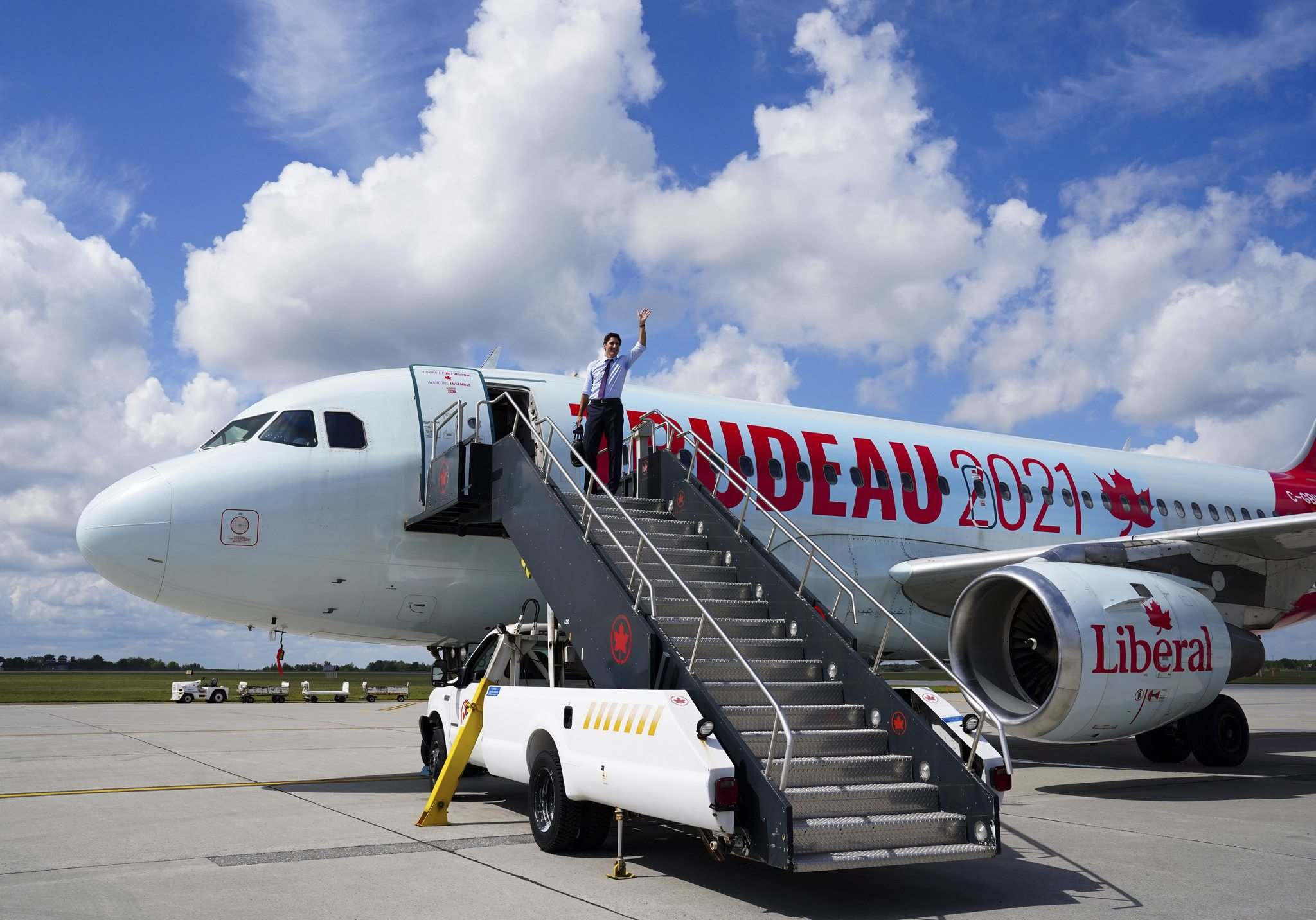 Sean Kilpatrick / The Canadian Press</p><p>Liberal Leader Justin Trudeau departs Ottawa on Aug. 22, en route to Atlantic Canada for campaign events.</p>