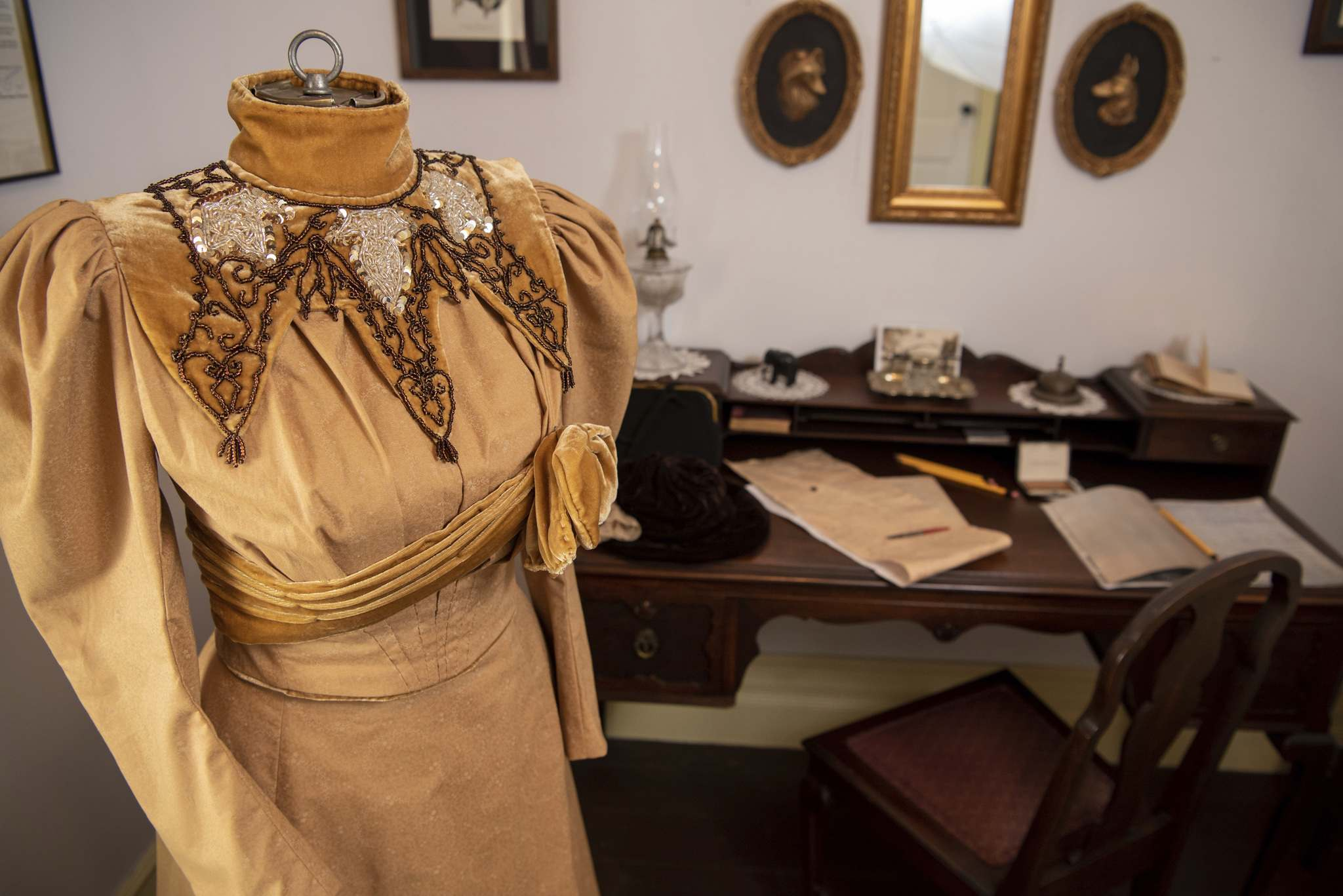 The replica of the wedding gown Nellie McClung wore in 1896 took years of work to create. </p>