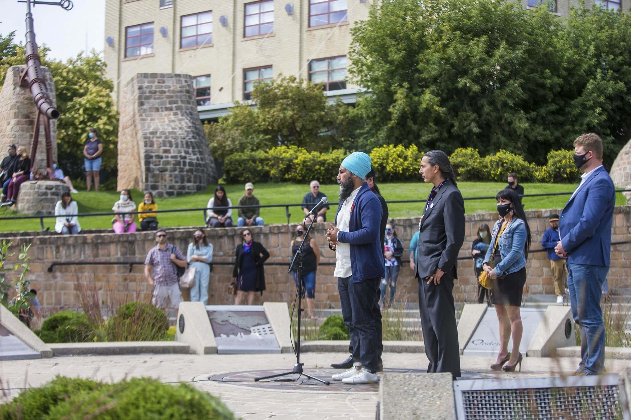 NDP leader Jagmeet Singh declared his solidarity with First Nations at the Oodena Circle at The Forks.