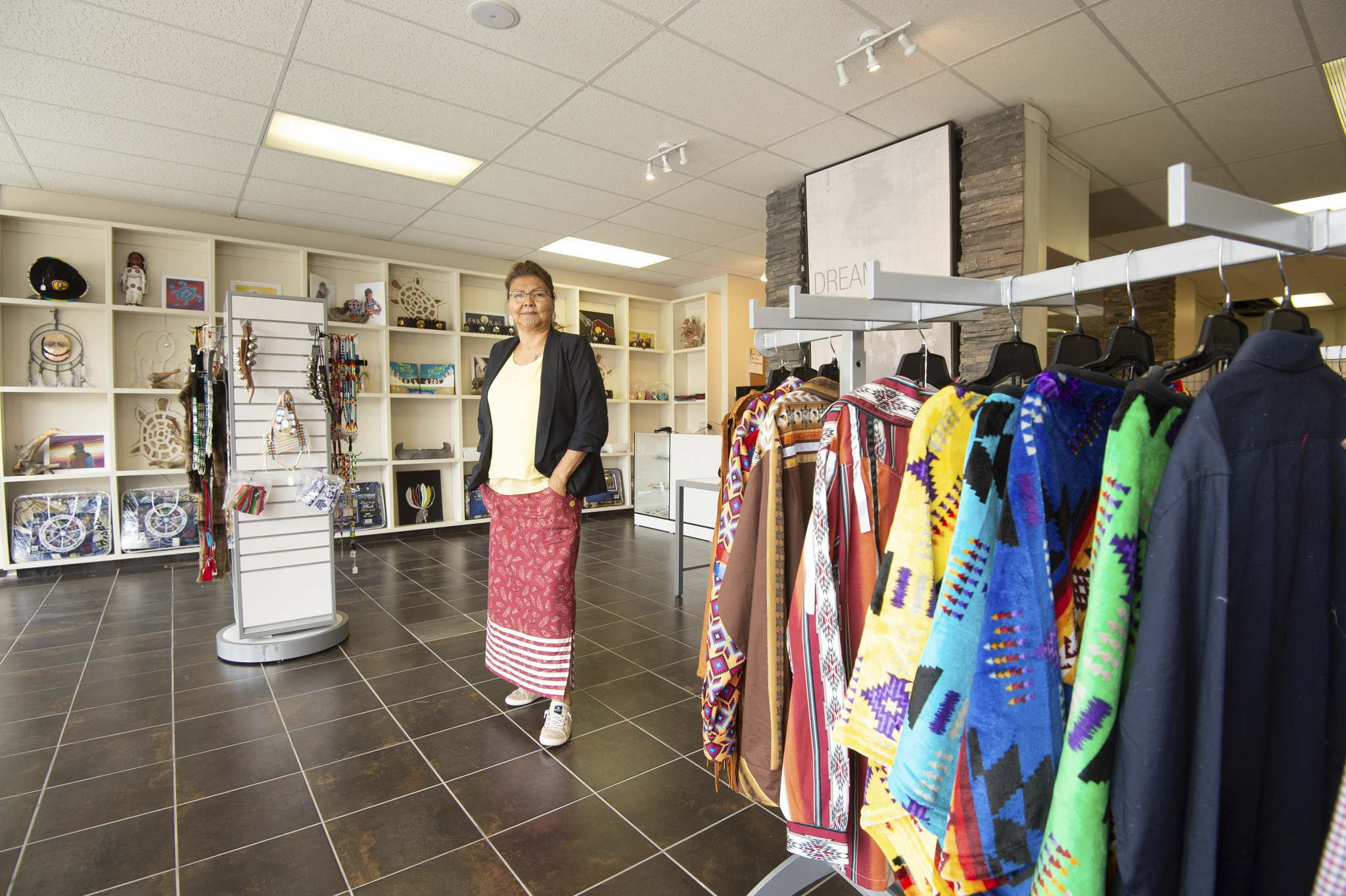April Tawipisim is the owner of Turtle Woman Indigenous Wear, a shop specializing in Indigenous clothing and jewelry located at 1116 Portage Ave. (Mike Sudoma / Winnipeg Free Press)</p>