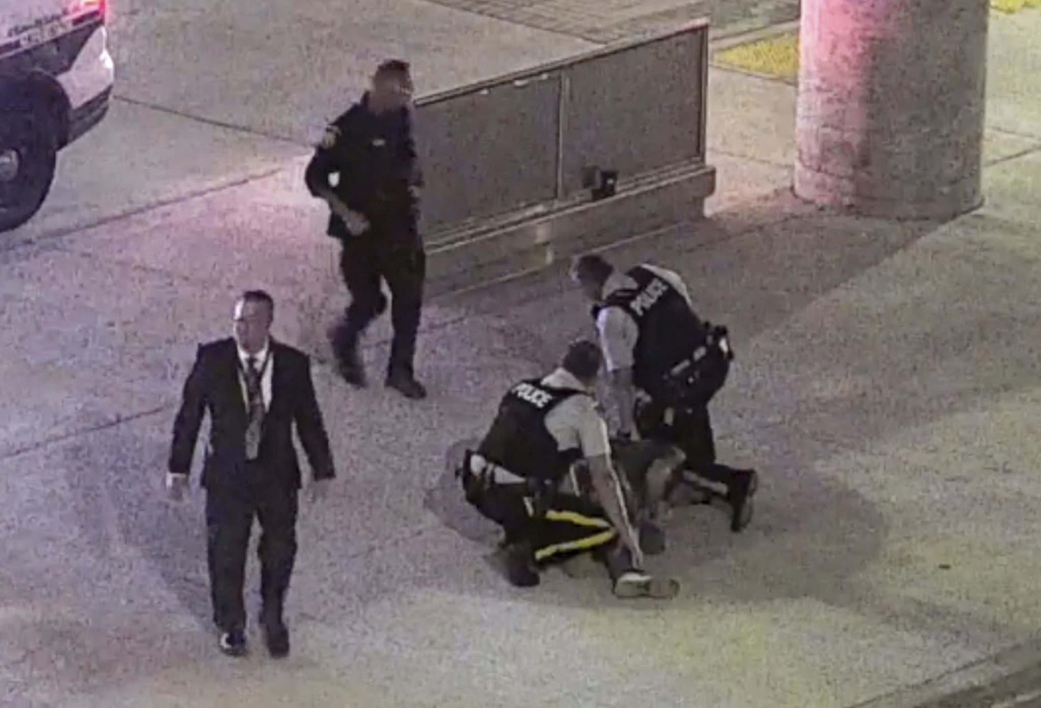 SUPPLIED </p><p>Video from airport security shows RCMP arresting Nathan Lasuik in 2019.</p>